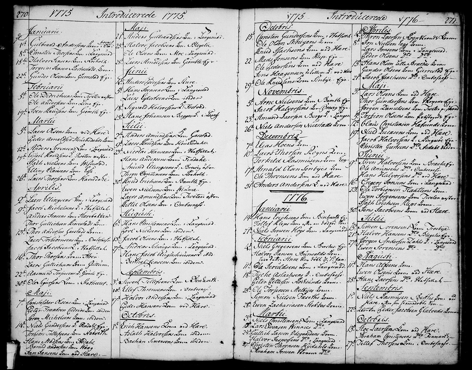 SAKO, Bamble kirkebøker, F/Fa/L0002: Ministerialbok nr. I 2, 1775-1814, s. 270-271