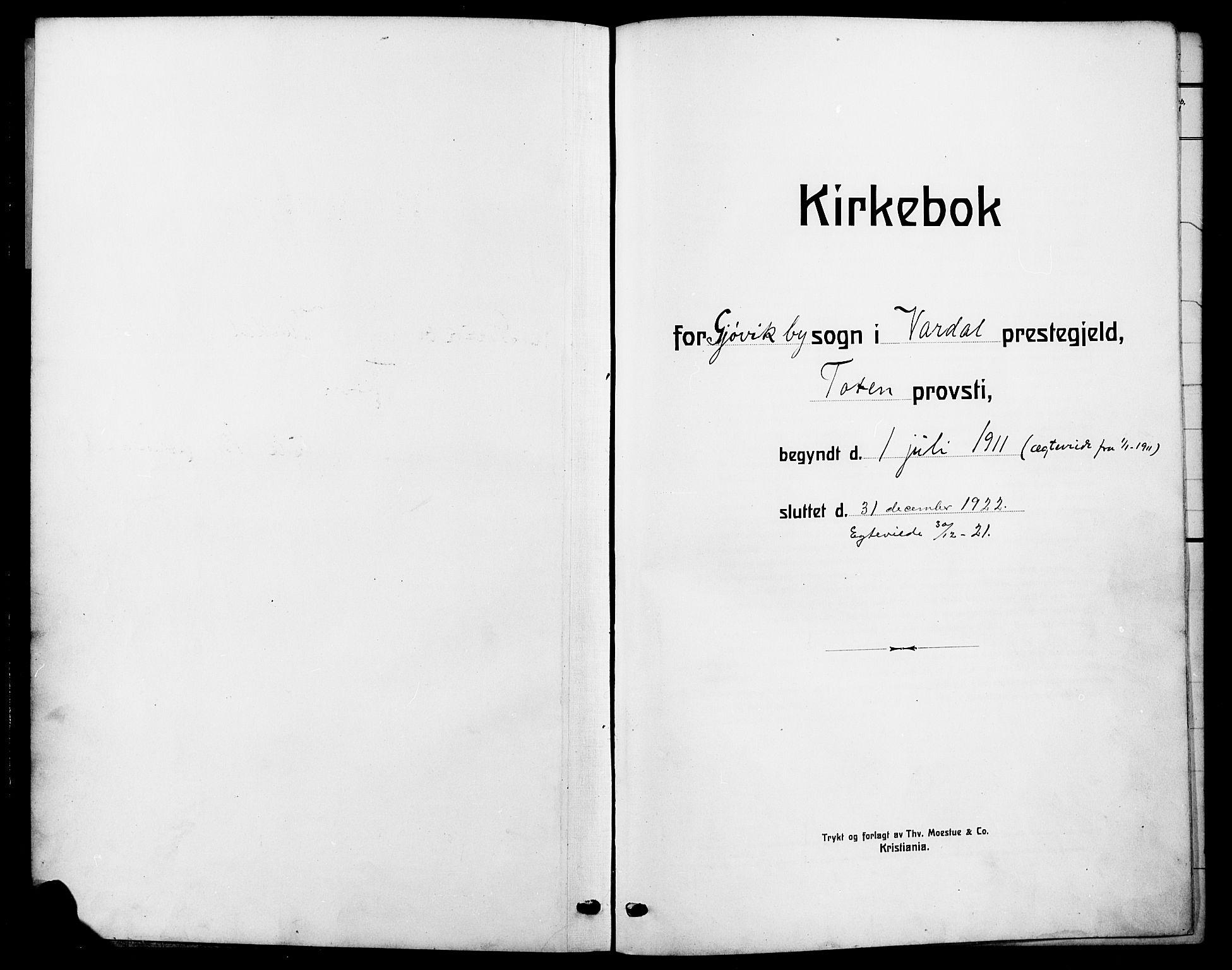 SAH, Vardal prestekontor, H/Ha/Hab/L0014: Klokkerbok nr. 14, 1911-1922