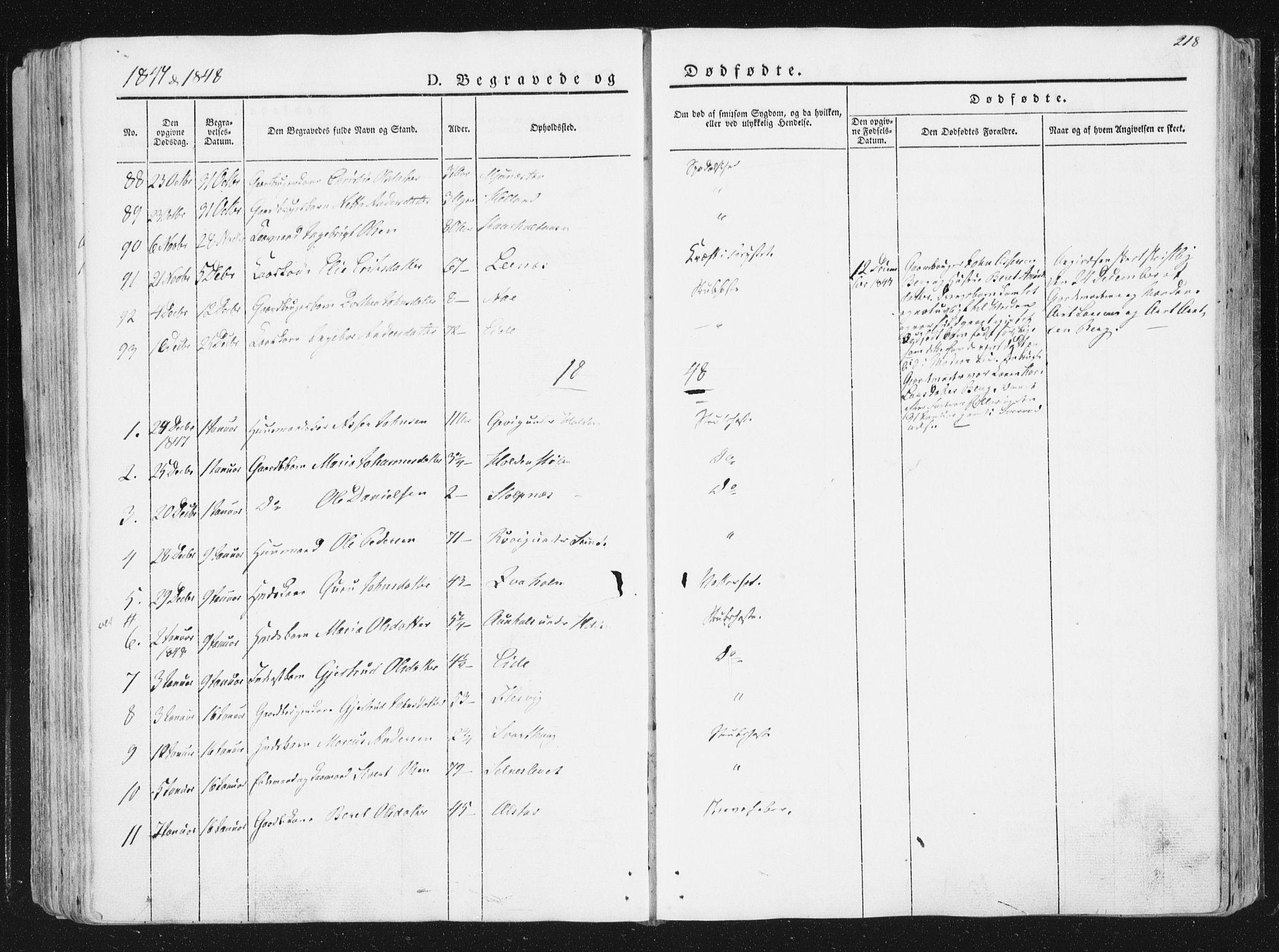 SAT, Ministerialprotokoller, klokkerbøker og fødselsregistre - Sør-Trøndelag, 630/L0493: Ministerialbok nr. 630A06, 1841-1851, s. 218