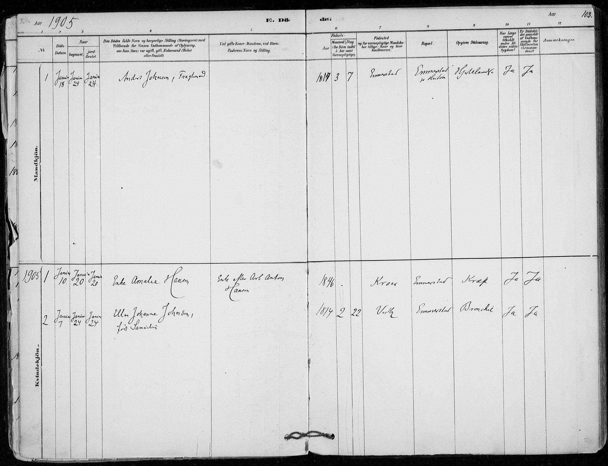 SAO, Vestby prestekontor Kirkebøker, F/Fd/L0001: Ministerialbok nr. IV 1, 1878-1945, s. 103