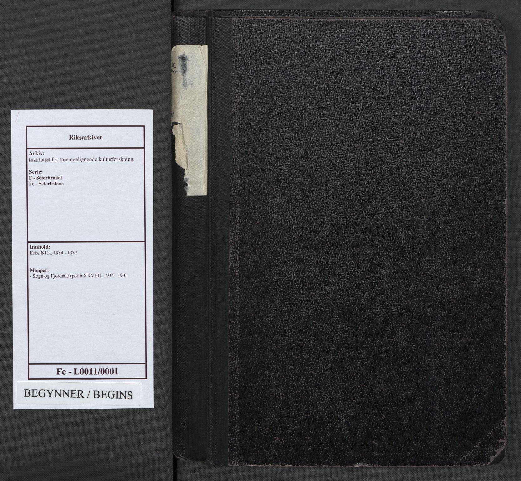 RA, Instituttet for sammenlignende kulturforskning, F/Fc/L0011: Eske B11:, 1934-1935, s. upaginert