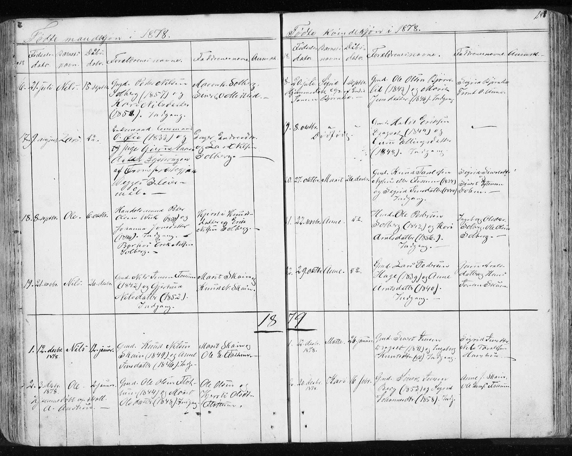 SAT, Ministerialprotokoller, klokkerbøker og fødselsregistre - Sør-Trøndelag, 689/L1043: Klokkerbok nr. 689C02, 1816-1892, s. 247