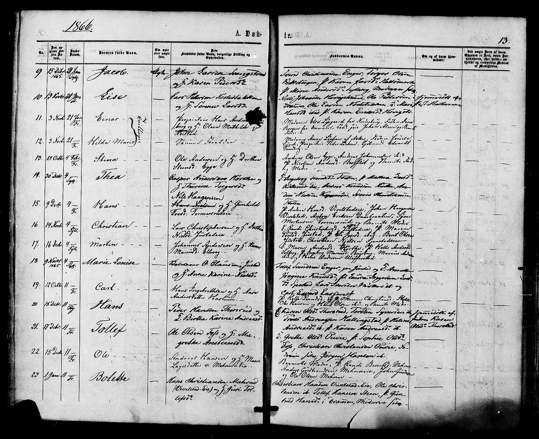 SAKO, Lier kirkebøker, F/Fa/L0013: Ministerialbok nr. I 13, 1865-1874, s. 13