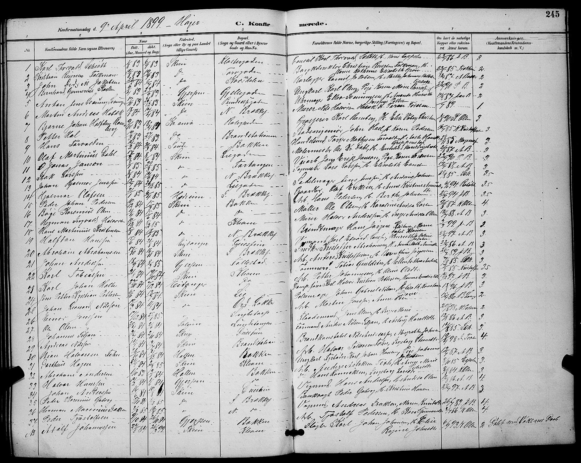 SAKO, Skien kirkebøker, G/Ga/L0007: Klokkerbok nr. 7, 1891-1900, s. 245