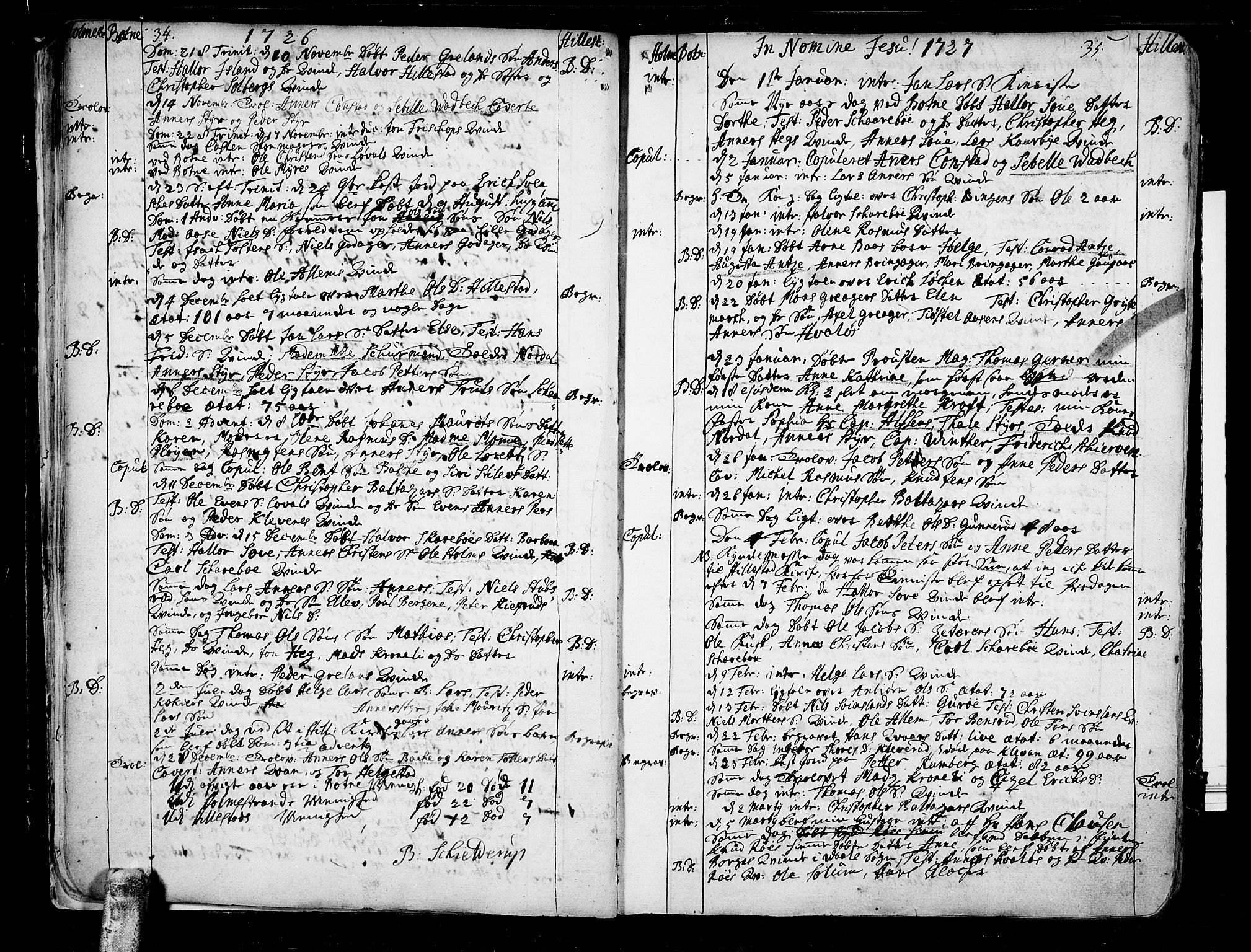 SAKO, Botne kirkebøker, F/Fa/L0001a: Ministerialbok nr. I 1A, 1707-1778, s. 34-35