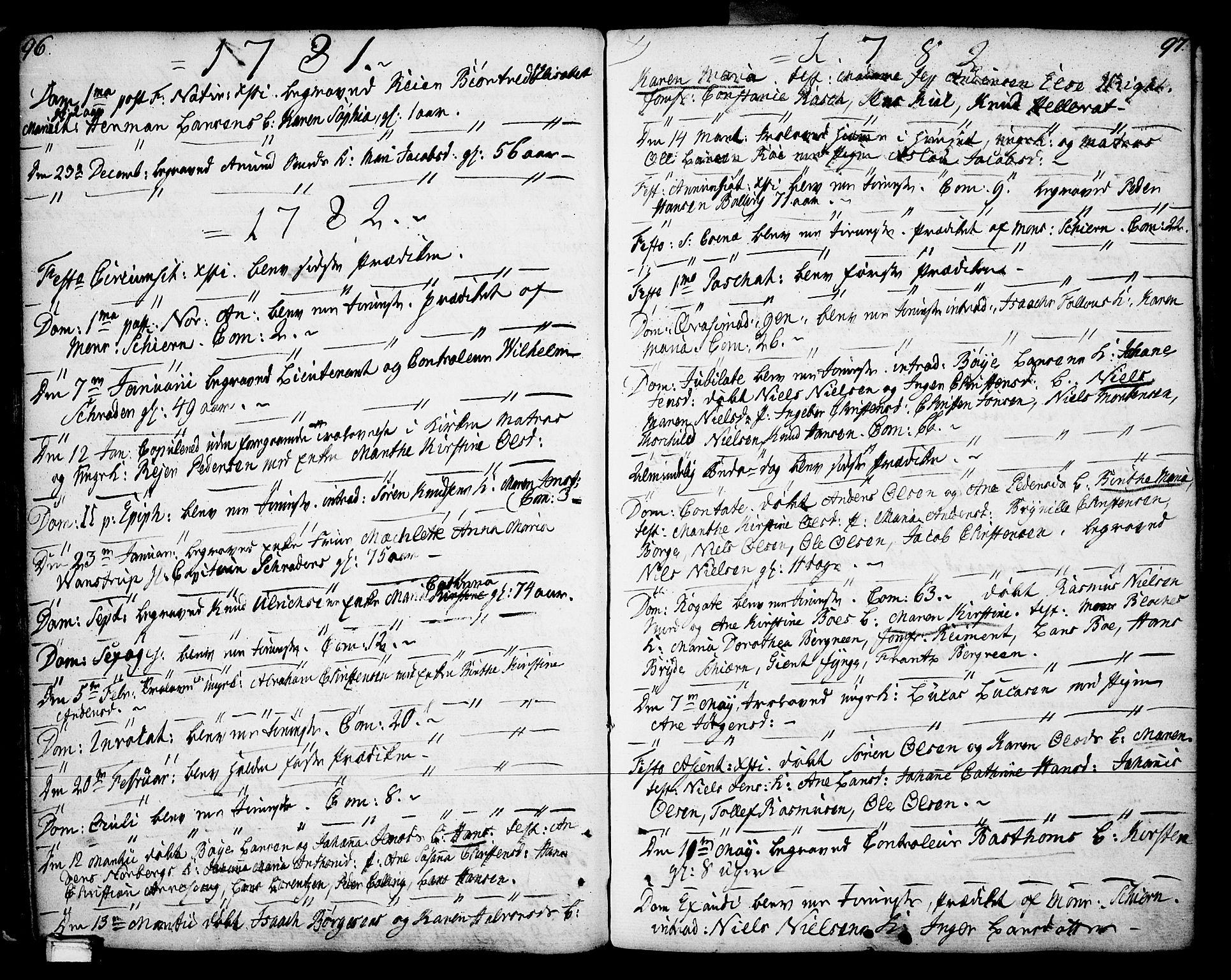 SAKO, Porsgrunn kirkebøker , F/Fa/L0002: Ministerialbok nr. 2, 1764-1814, s. 96-97