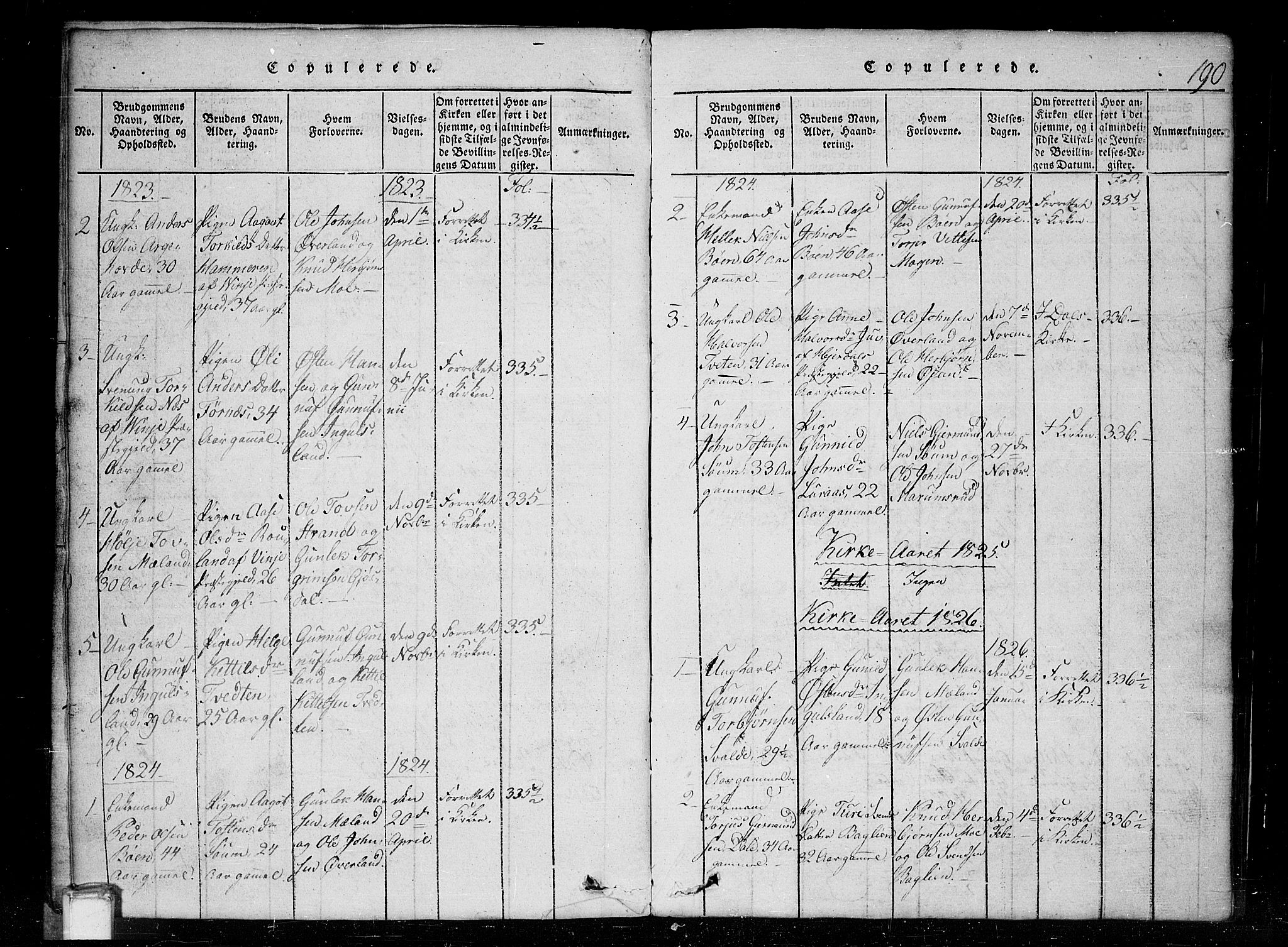 SAKO, Tinn kirkebøker, G/Gc/L0001: Klokkerbok nr. III 1, 1815-1879, s. 190