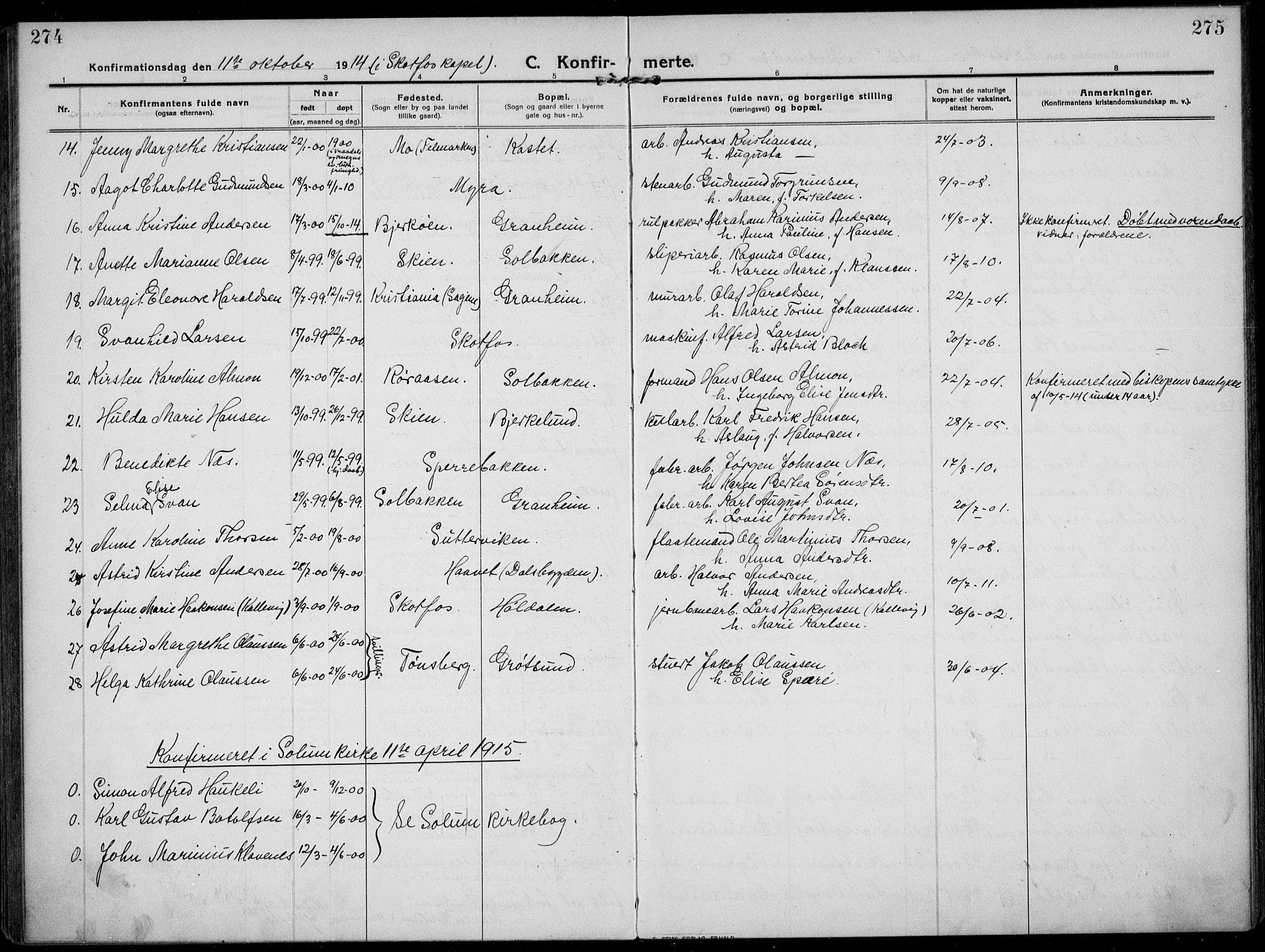SAKO, Solum kirkebøker, F/Fb/L0004: Ministerialbok nr. II 4, 1913-1924, s. 274-275