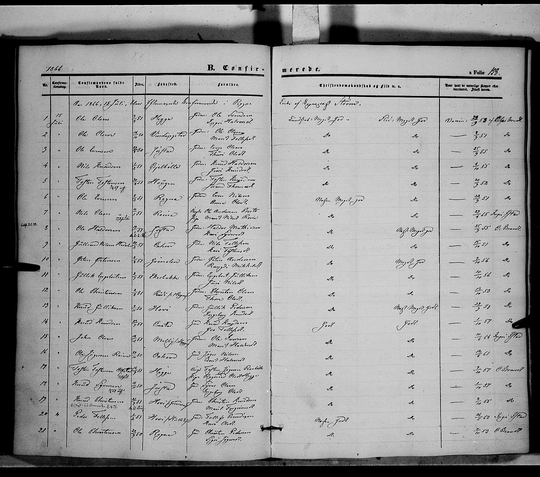 SAH, Øystre Slidre prestekontor, Ministerialbok nr. 1, 1849-1874, s. 158
