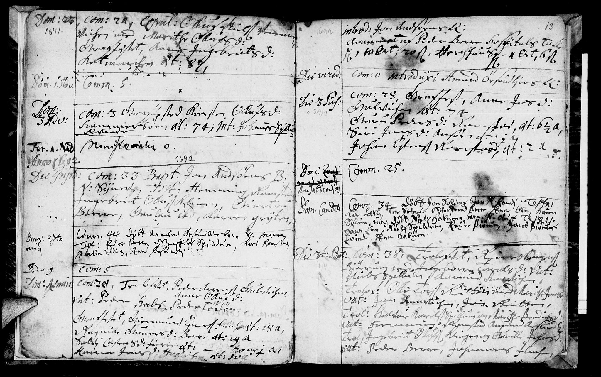 SAT, Ministerialprotokoller, klokkerbøker og fødselsregistre - Nord-Trøndelag, 770/L0587: Ministerialbok nr. 770A01, 1689-1697, s. 12-13