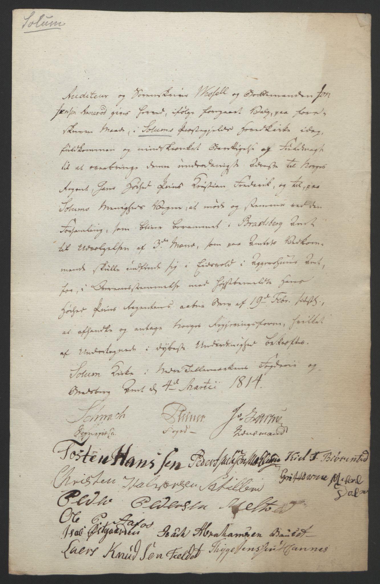 RA, Statsrådssekretariatet, D/Db/L0008: Fullmakter for Eidsvollsrepresentantene i 1814. , 1814, s. 69