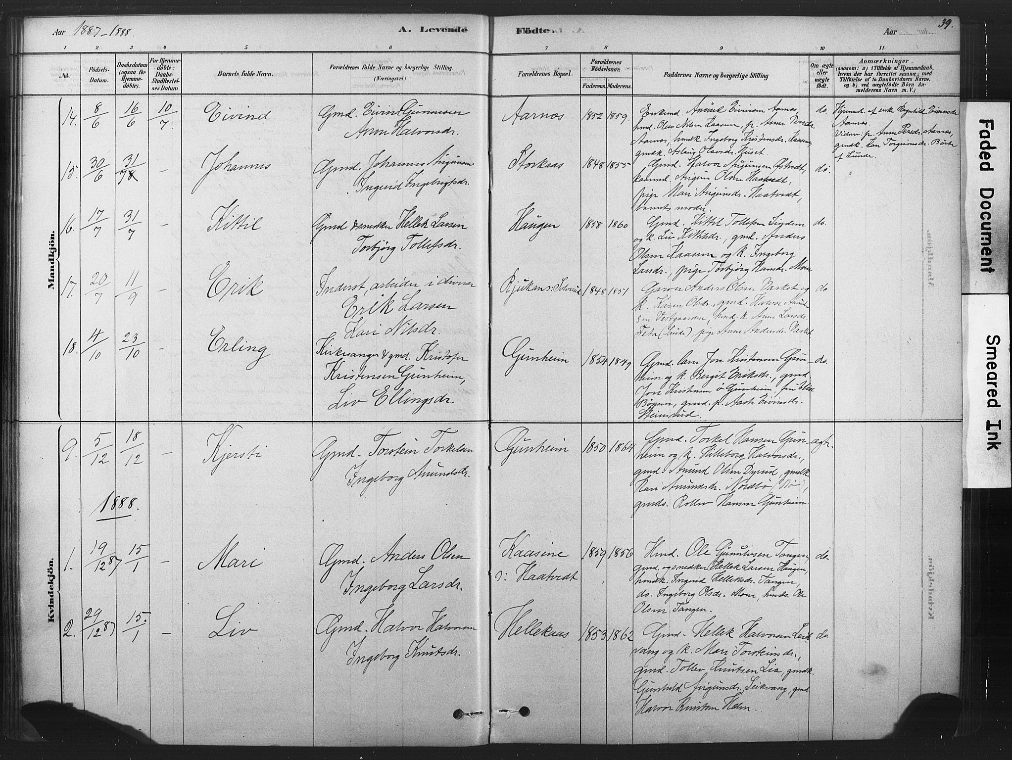 SAKO, Sauherad kirkebøker, F/Fb/L0002: Ministerialbok nr. II 2, 1878-1901, s. 39