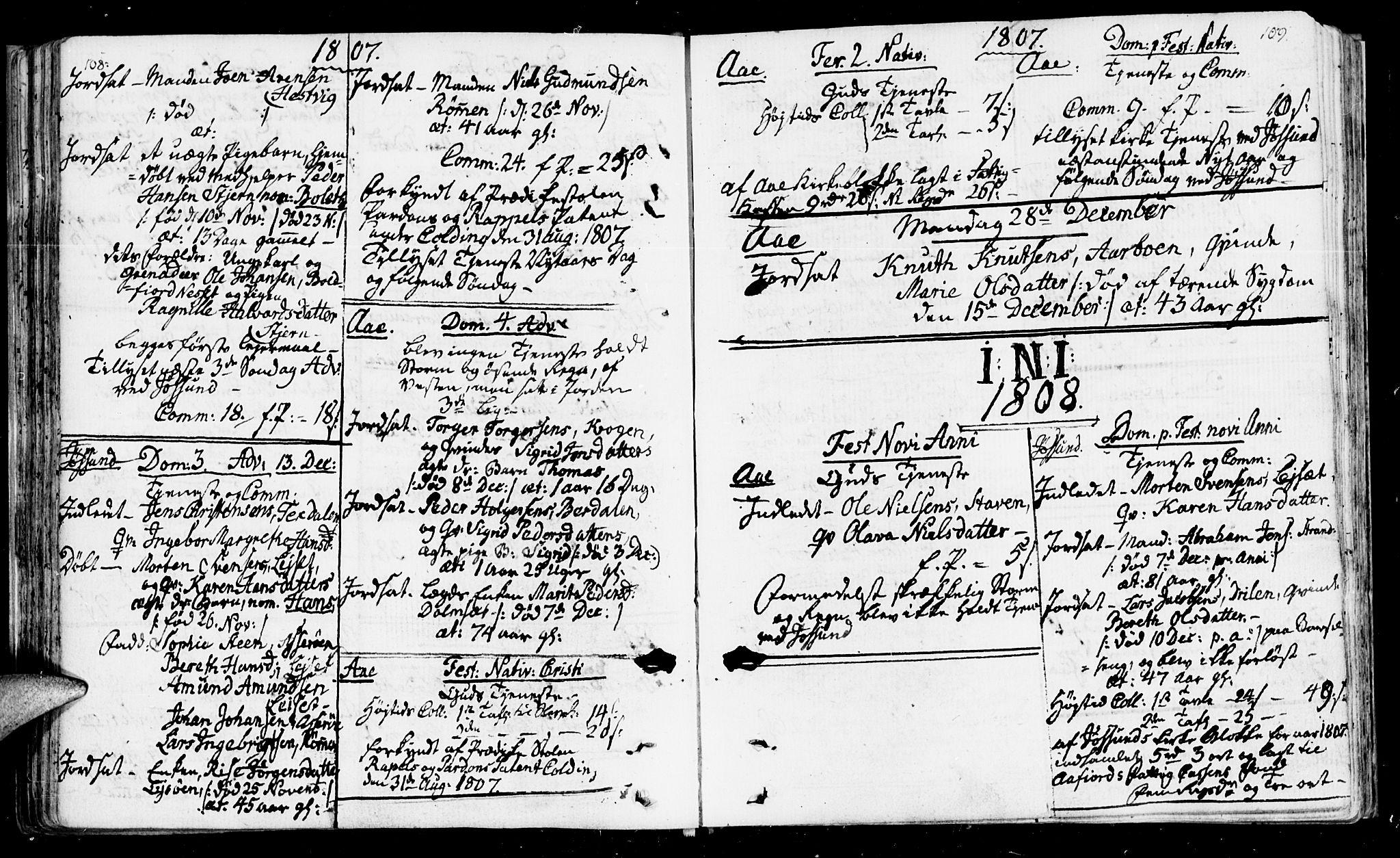 SAT, Ministerialprotokoller, klokkerbøker og fødselsregistre - Sør-Trøndelag, 655/L0674: Ministerialbok nr. 655A03, 1802-1826, s. 108-109