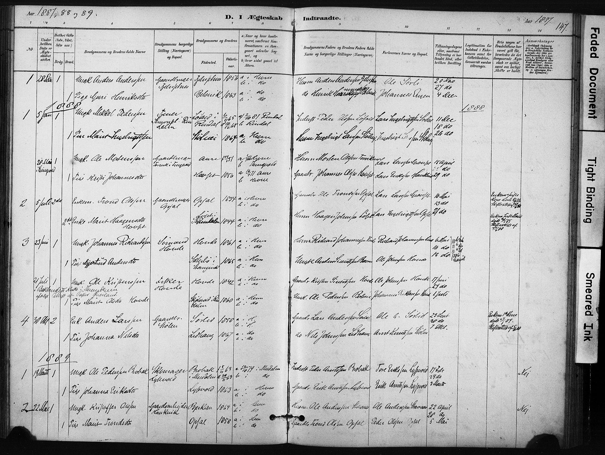 SAT, Ministerialprotokoller, klokkerbøker og fødselsregistre - Sør-Trøndelag, 631/L0512: Ministerialbok nr. 631A01, 1879-1912, s. 147