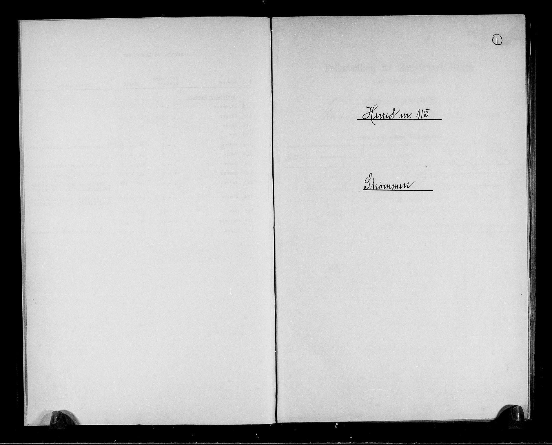 RA, Folketelling 1891 for 0711 Strømm herred, 1891, s. 1
