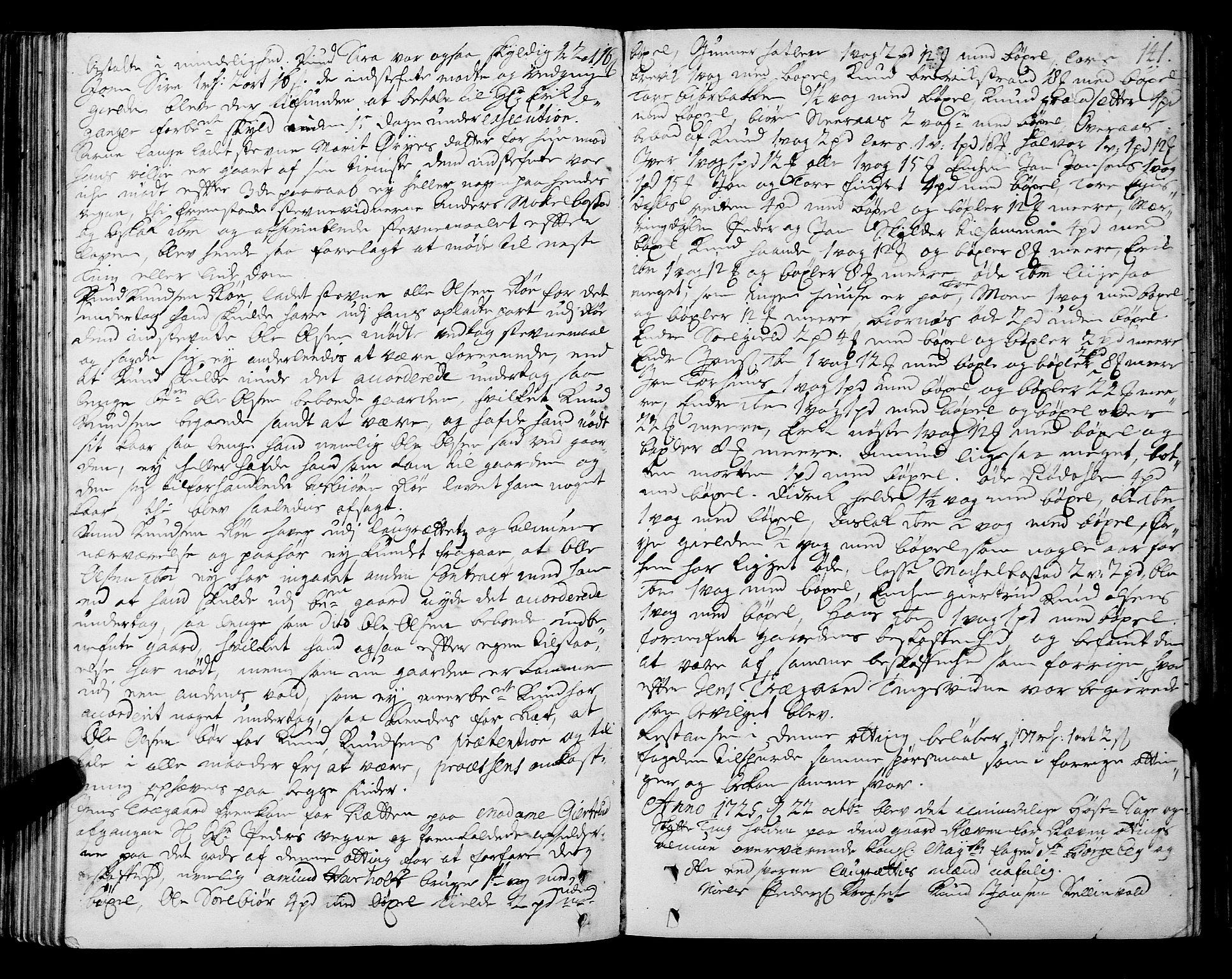 SAT, Romsdal sorenskriveri, 1/1A/L0009: Tingbok, 1722-1728, s. 140b-141a