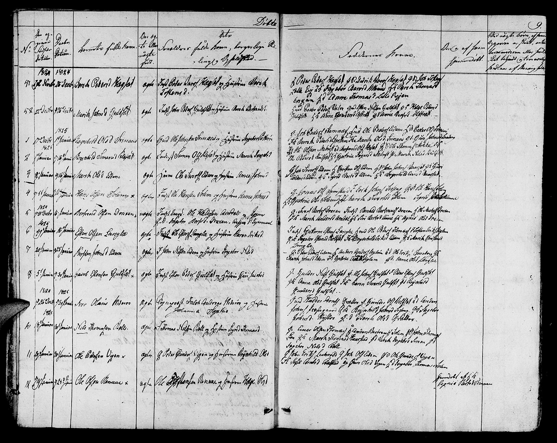 SAT, Ministerialprotokoller, klokkerbøker og fødselsregistre - Sør-Trøndelag, 695/L1143: Ministerialbok nr. 695A05 /1, 1824-1842, s. 9