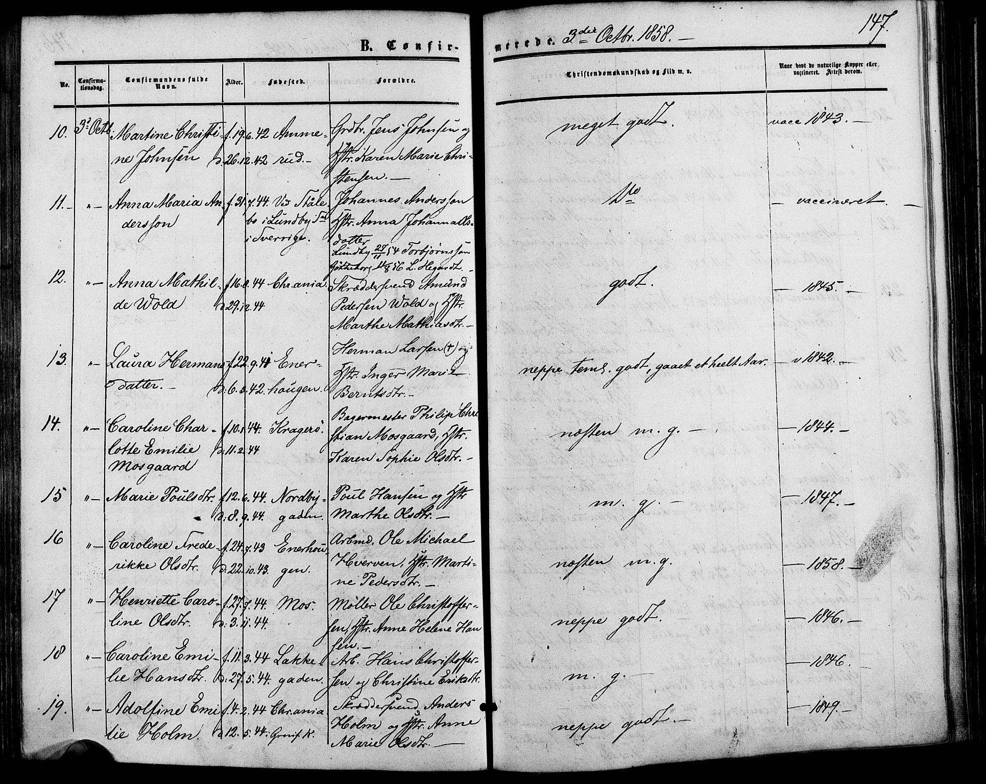 SAO, Vestre Aker prestekontor Kirkebøker, F/Fa/L0001: Ministerialbok nr. 1, 1853-1858, s. 147