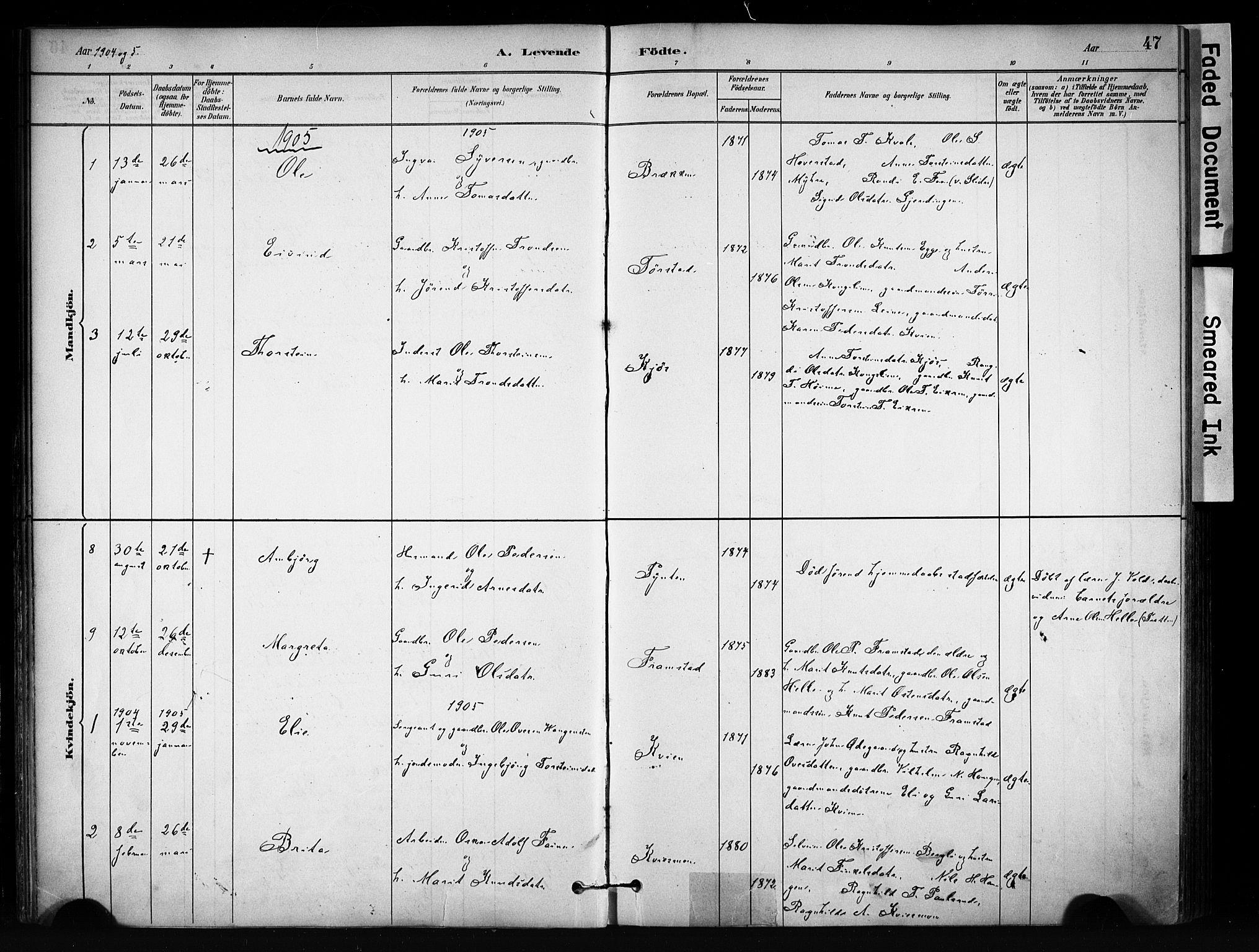 SAH, Vang prestekontor, Valdres, Ministerialbok nr. 9, 1882-1914, s. 47