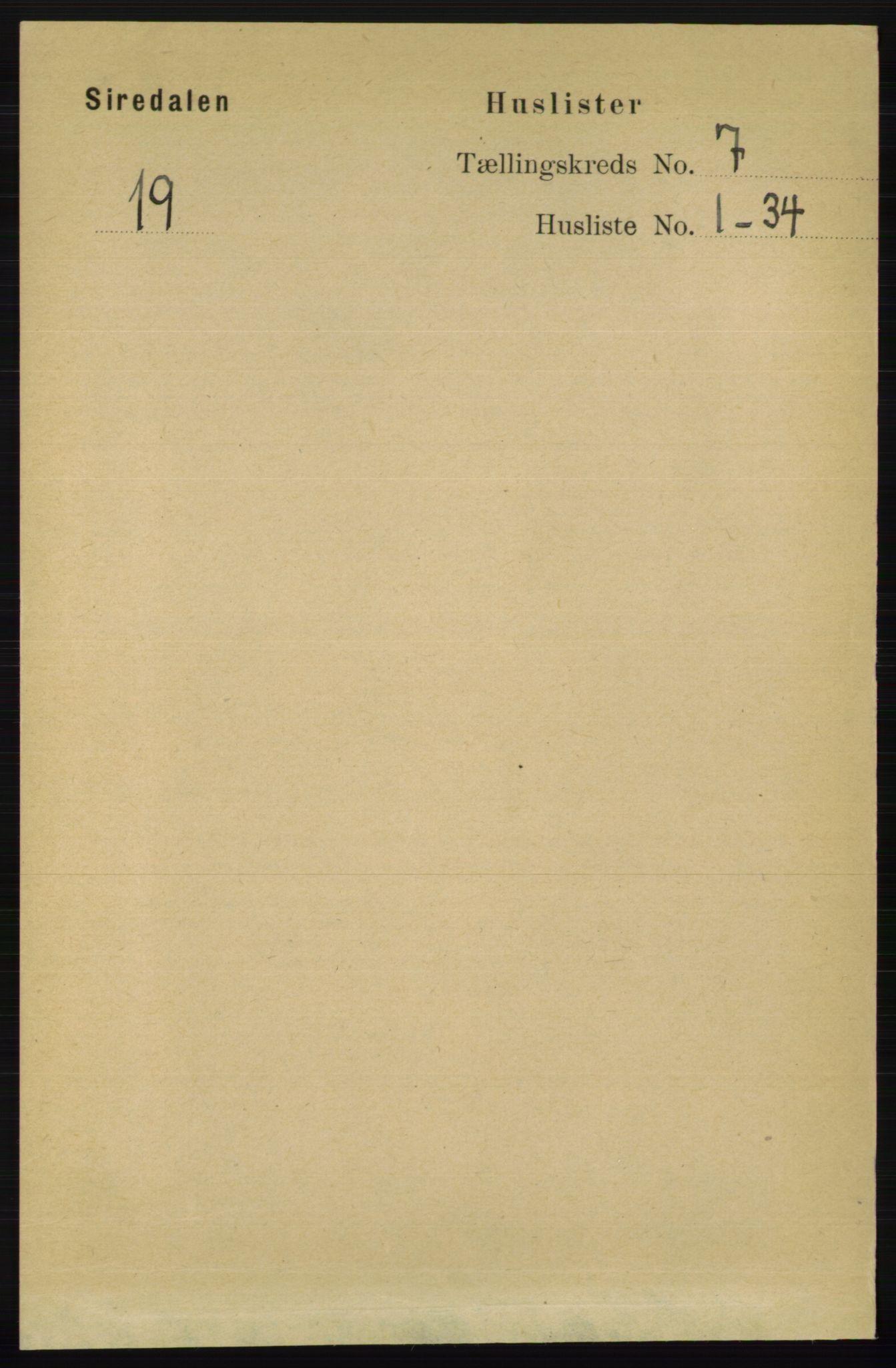 RA, Folketelling 1891 for 1046 Sirdal herred, 1891, s. 1916