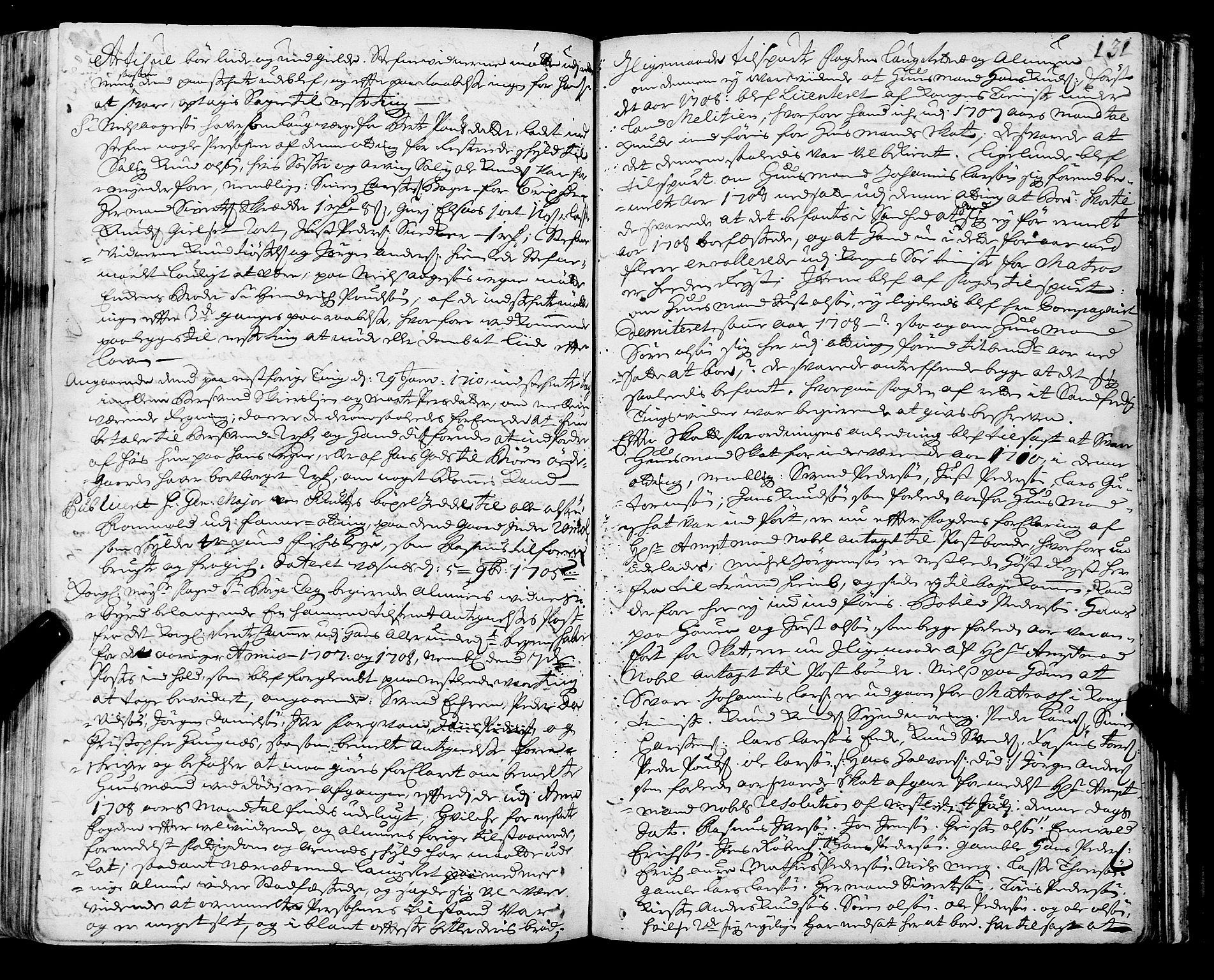 SAT, Romsdal sorenskriveri, 1/1A/L0006: Tingbok, 1707-1711, s. 130b-131a