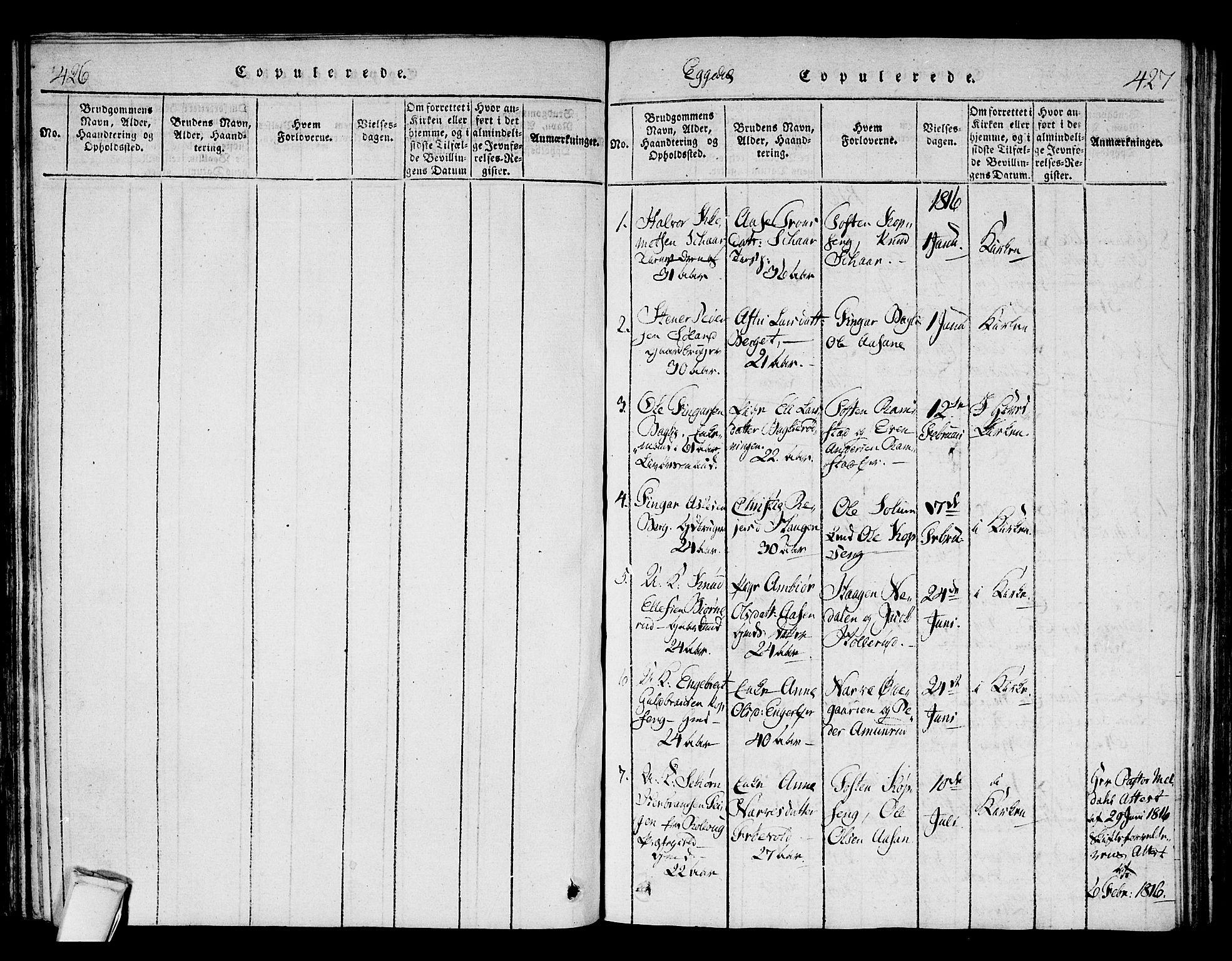SAKO, Sigdal kirkebøker, F/Fa/L0005: Ministerialbok nr. I 5 /2, 1815-1829, s. 426-427