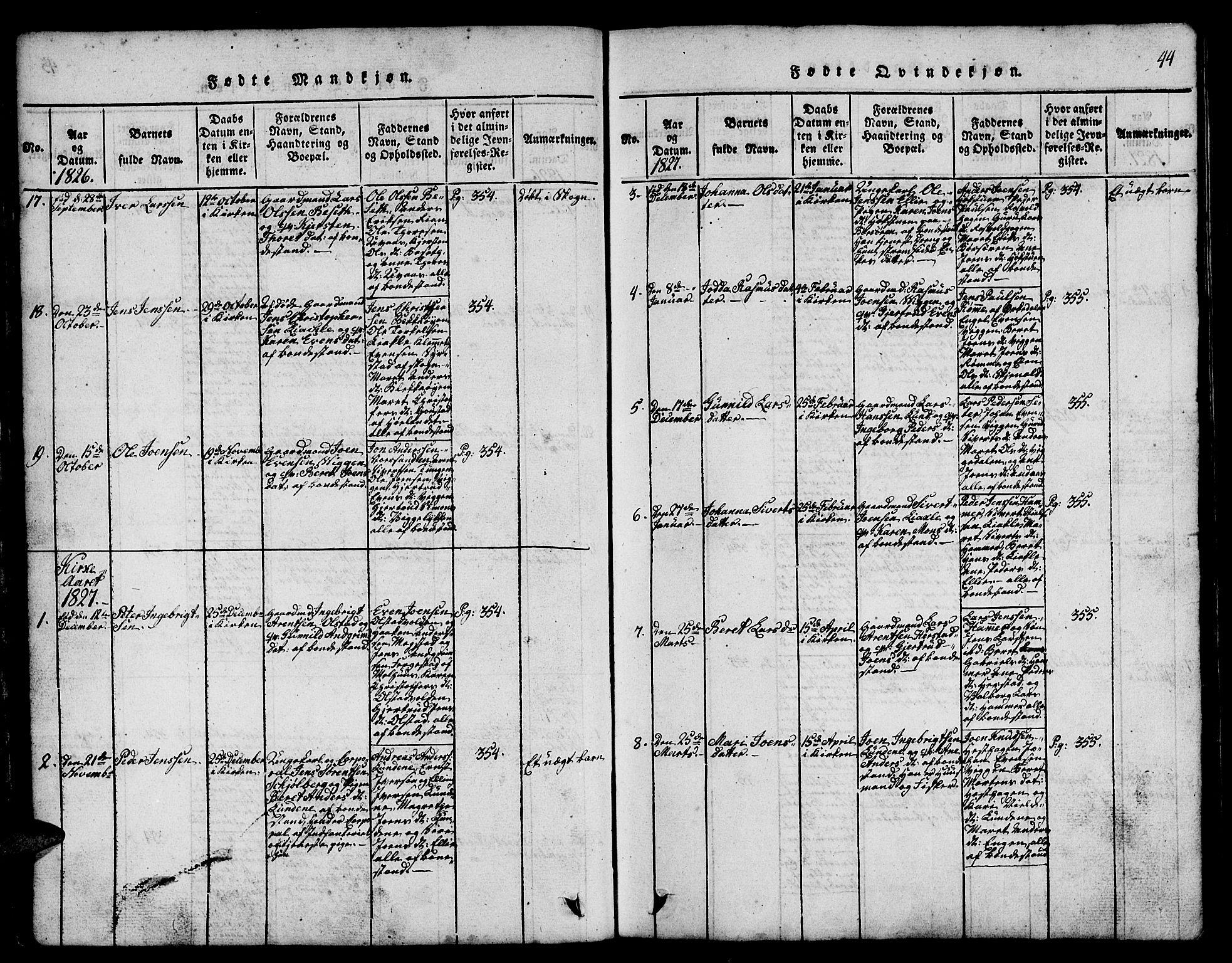 SAT, Ministerialprotokoller, klokkerbøker og fødselsregistre - Sør-Trøndelag, 665/L0776: Klokkerbok nr. 665C01, 1817-1837, s. 44