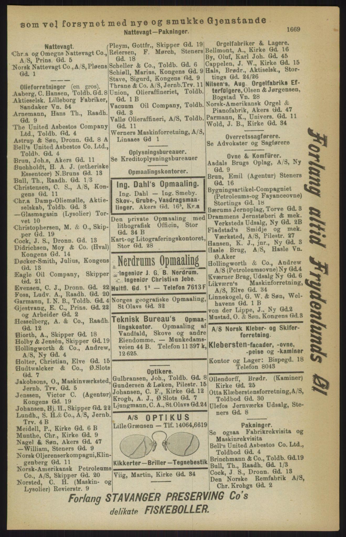 RA, Kristiania adressebok (publikasjon)*, 1911, s. 1669
