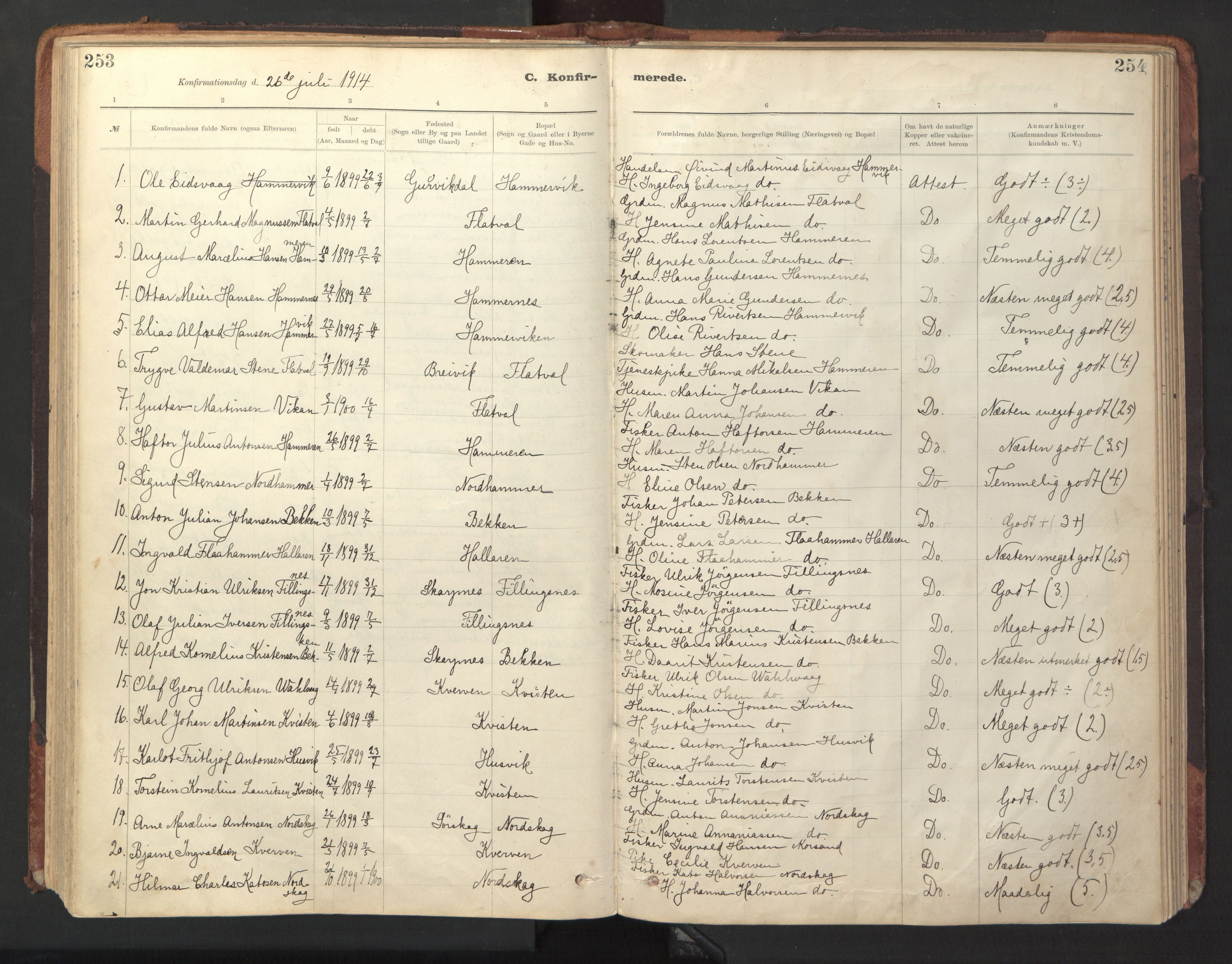 SAT, Ministerialprotokoller, klokkerbøker og fødselsregistre - Sør-Trøndelag, 641/L0596: Ministerialbok nr. 641A02, 1898-1915, s. 253-254