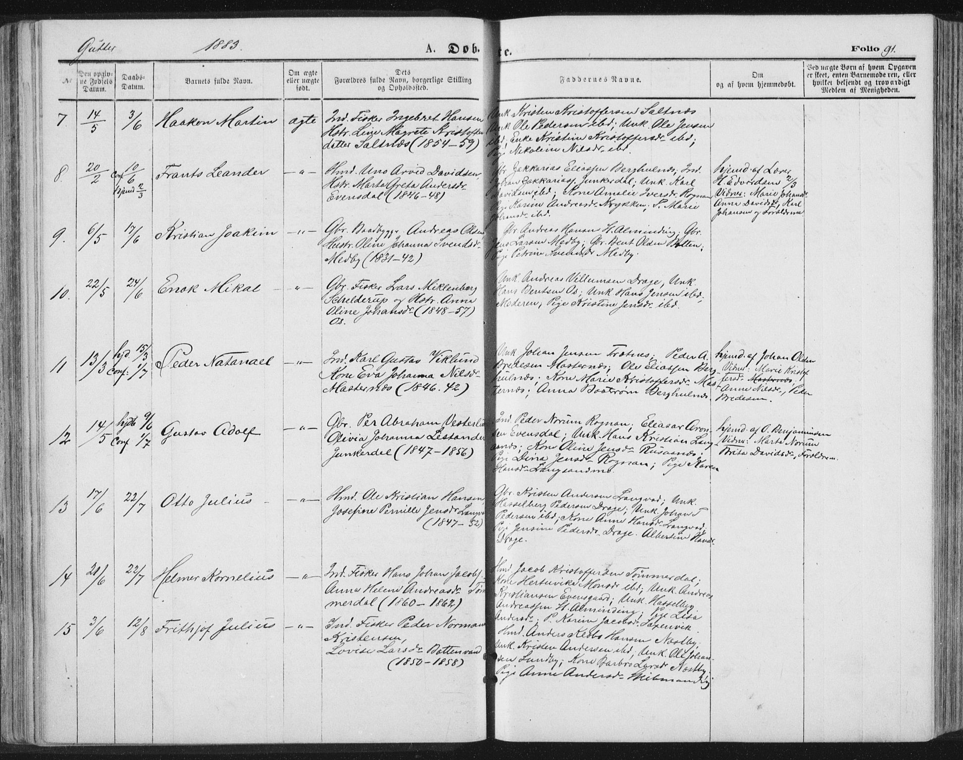 SAT, Ministerialprotokoller, klokkerbøker og fødselsregistre - Nordland, 847/L0668: Ministerialbok nr. 847A08, 1872-1886, s. 91