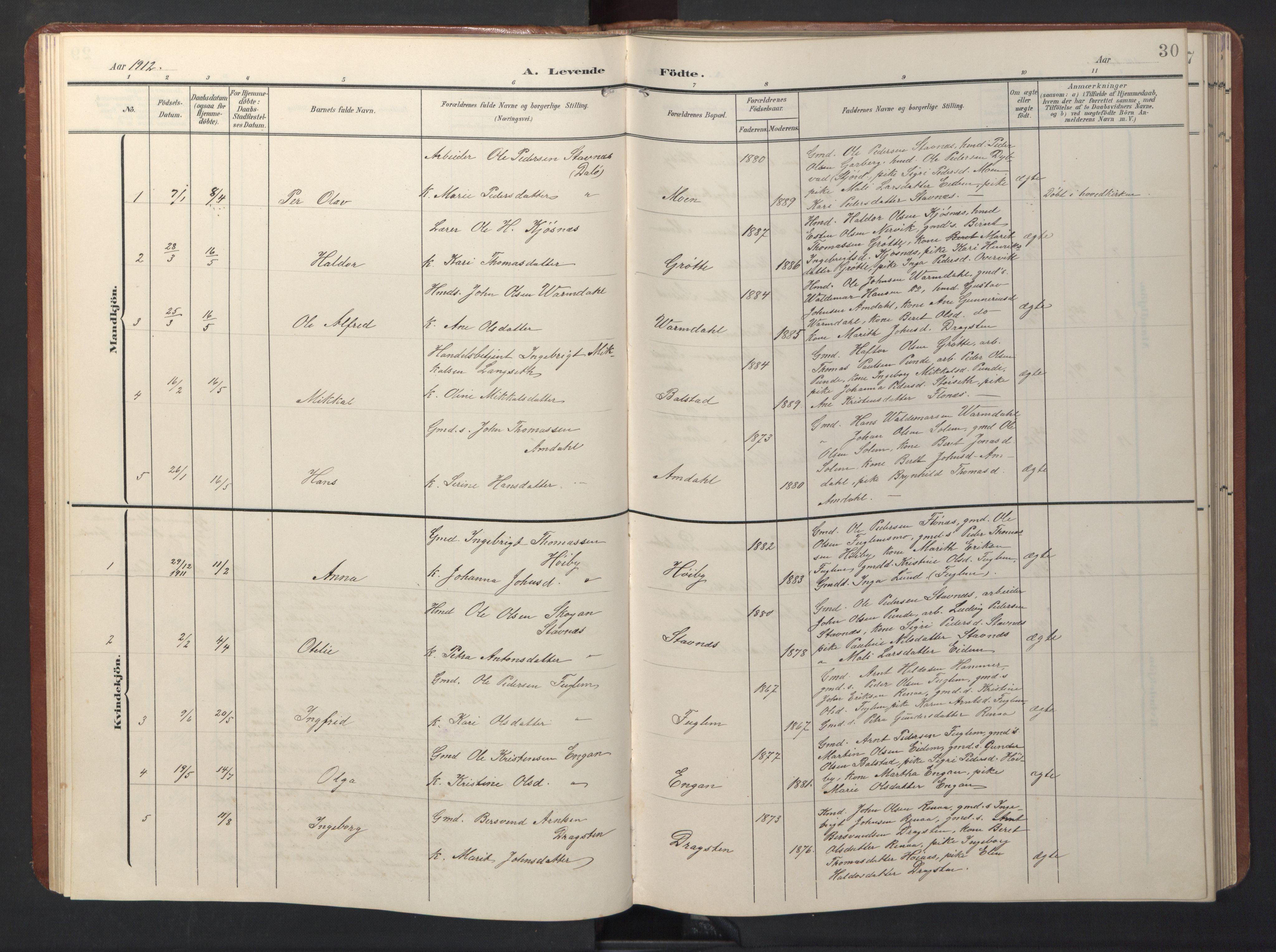 SAT, Ministerialprotokoller, klokkerbøker og fødselsregistre - Sør-Trøndelag, 696/L1161: Klokkerbok nr. 696C01, 1902-1950, s. 30