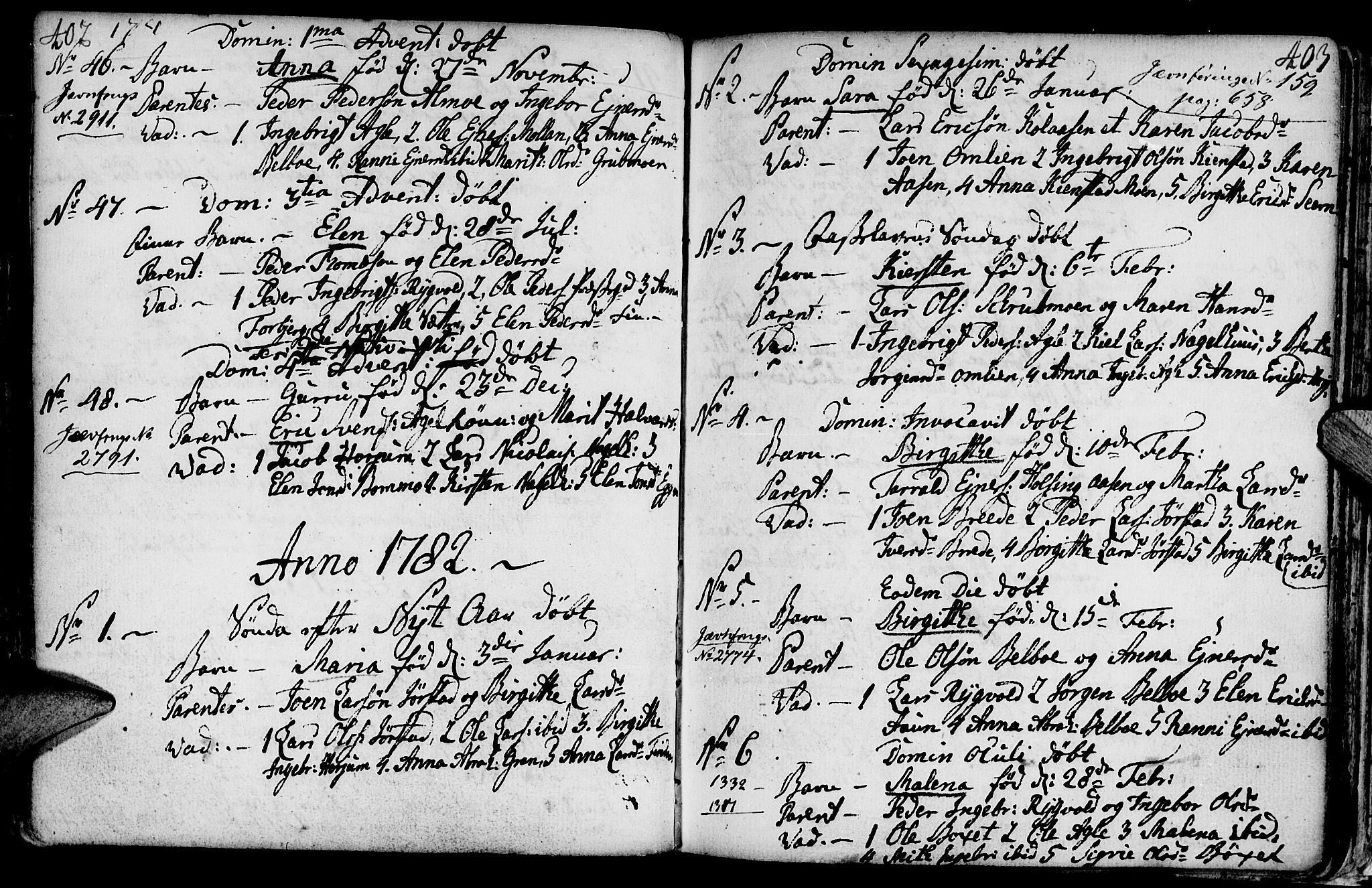 SAT, Ministerialprotokoller, klokkerbøker og fødselsregistre - Nord-Trøndelag, 749/L0467: Ministerialbok nr. 749A01, 1733-1787, s. 402-403