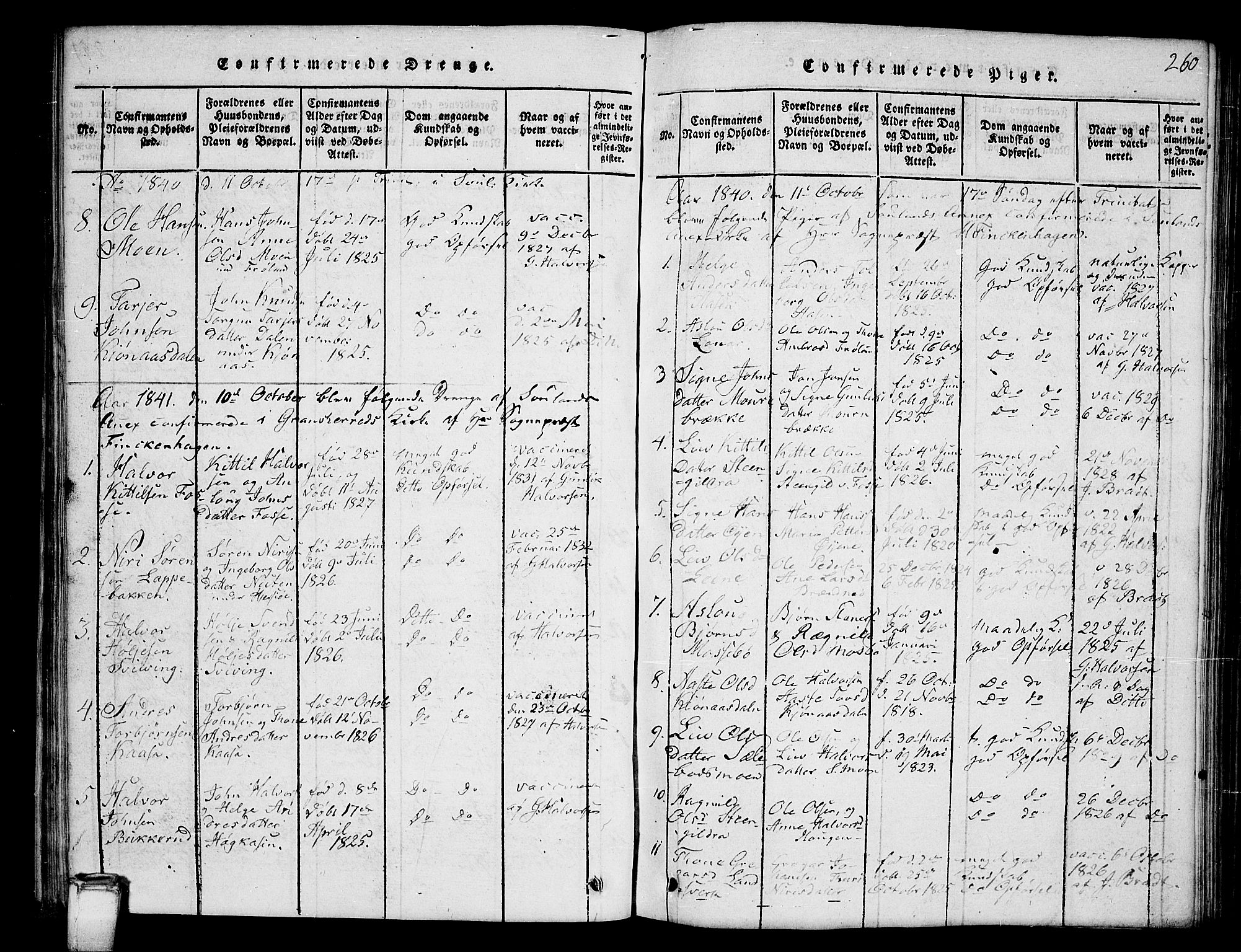 SAKO, Hjartdal kirkebøker, G/Gb/L0001: Klokkerbok nr. II 1, 1815-1842, s. 260