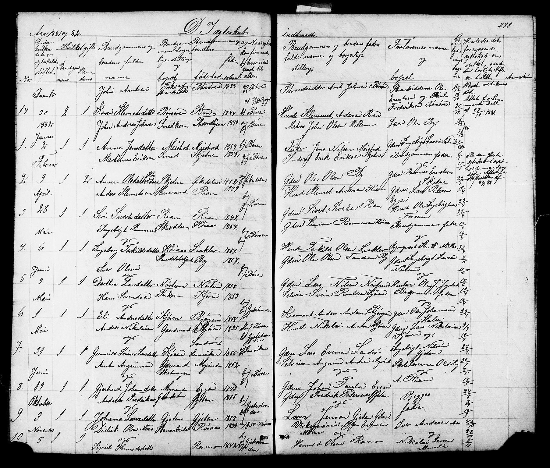 SAT, Ministerialprotokoller, klokkerbøker og fødselsregistre - Sør-Trøndelag, 665/L0777: Klokkerbok nr. 665C02, 1867-1915, s. 238