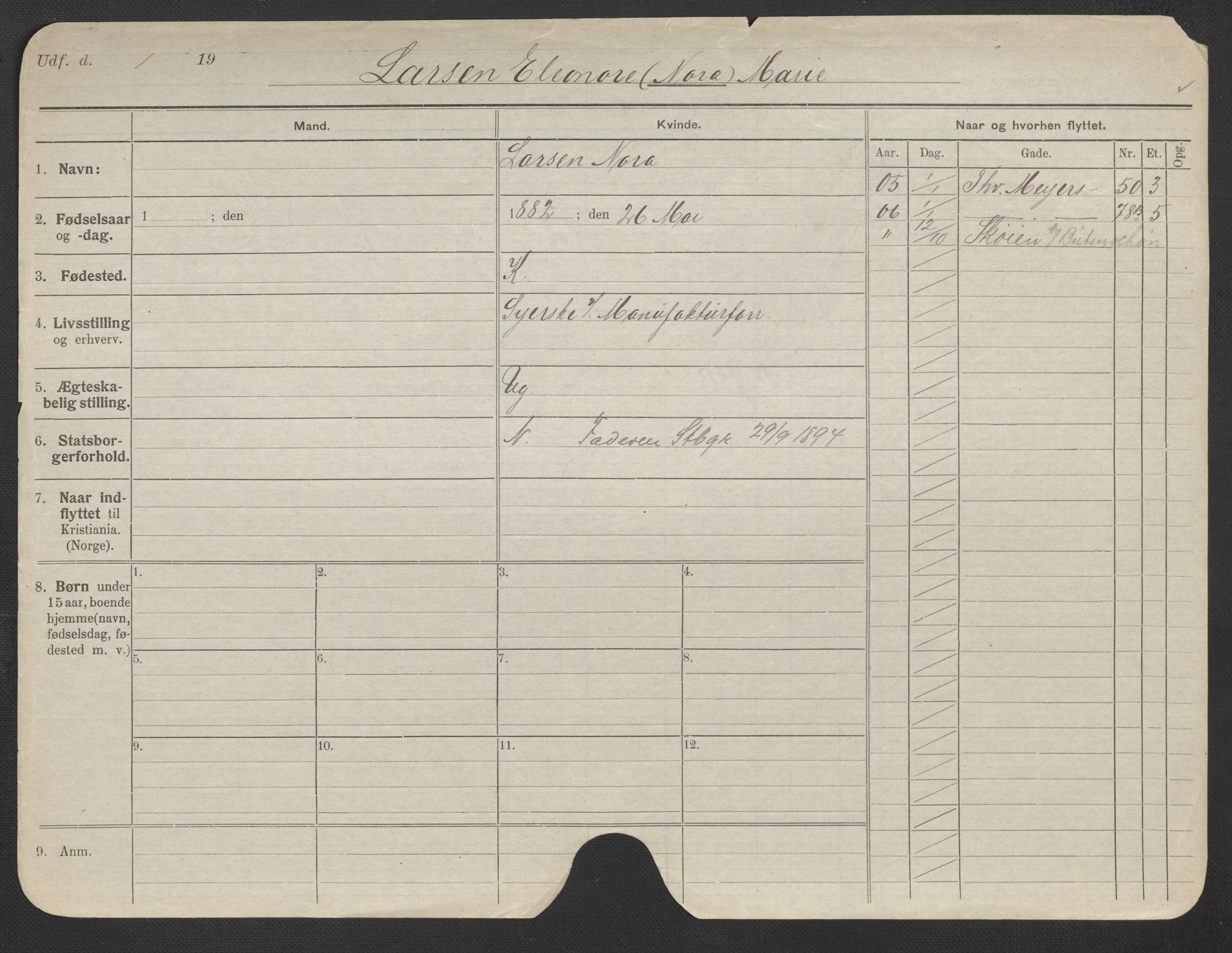 SAO, Oslo folkeregister, Registerkort, F/Fa/Fac/L0019: Kvinner, 1906-1914, s. 1101a