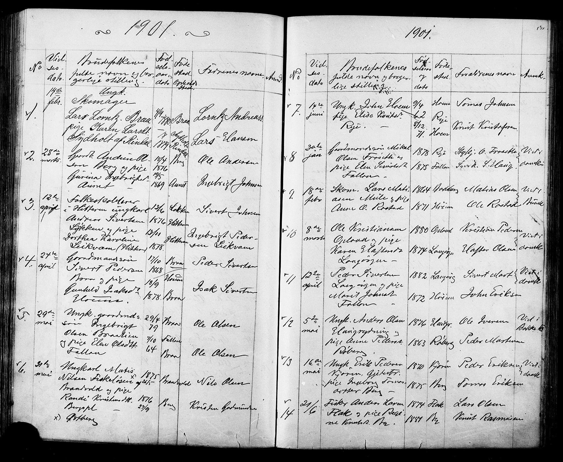 SAT, Ministerialprotokoller, klokkerbøker og fødselsregistre - Sør-Trøndelag, 612/L0387: Klokkerbok nr. 612C03, 1874-1908, s. 191