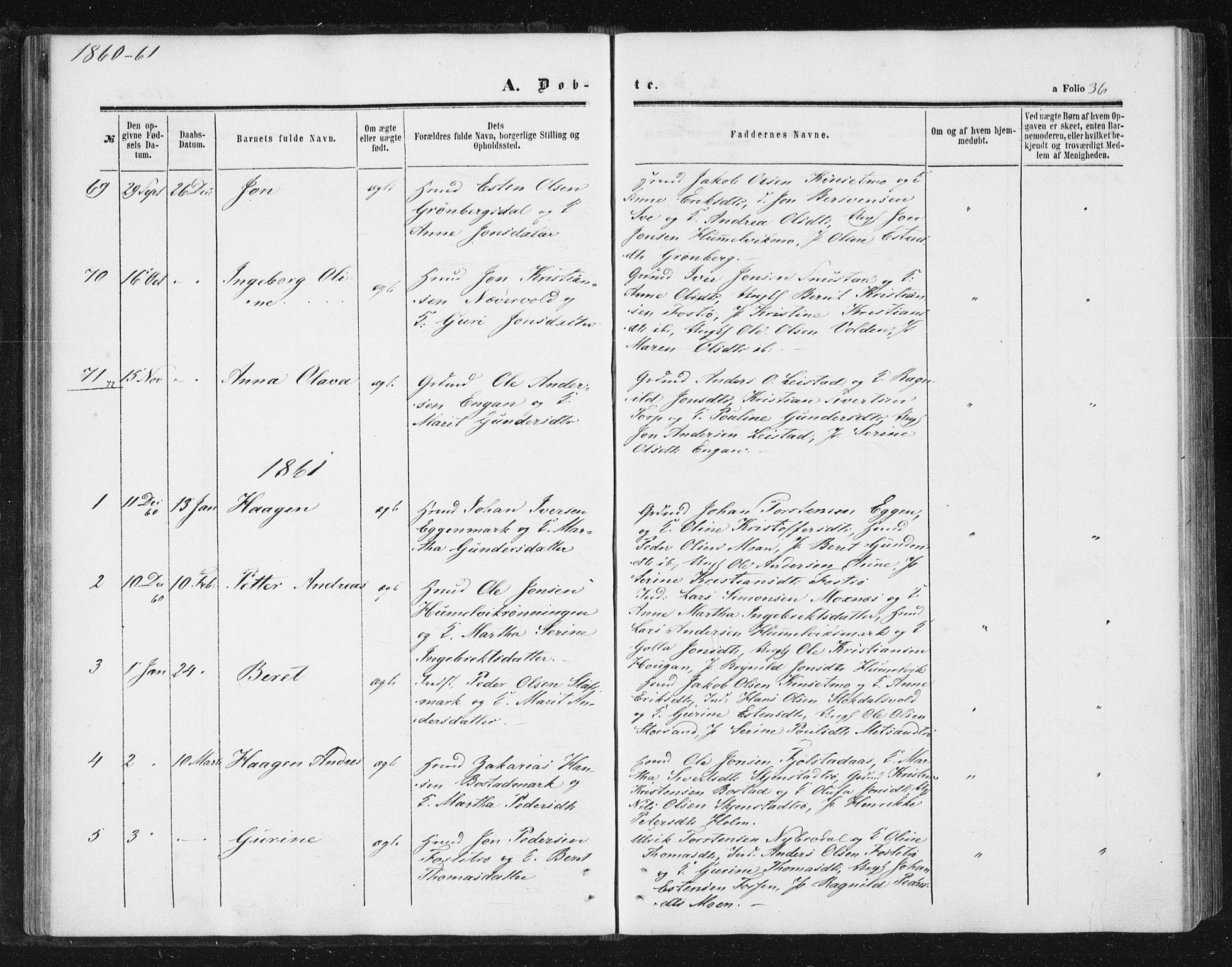 SAT, Ministerialprotokoller, klokkerbøker og fødselsregistre - Sør-Trøndelag, 616/L0408: Ministerialbok nr. 616A05, 1857-1865, s. 36