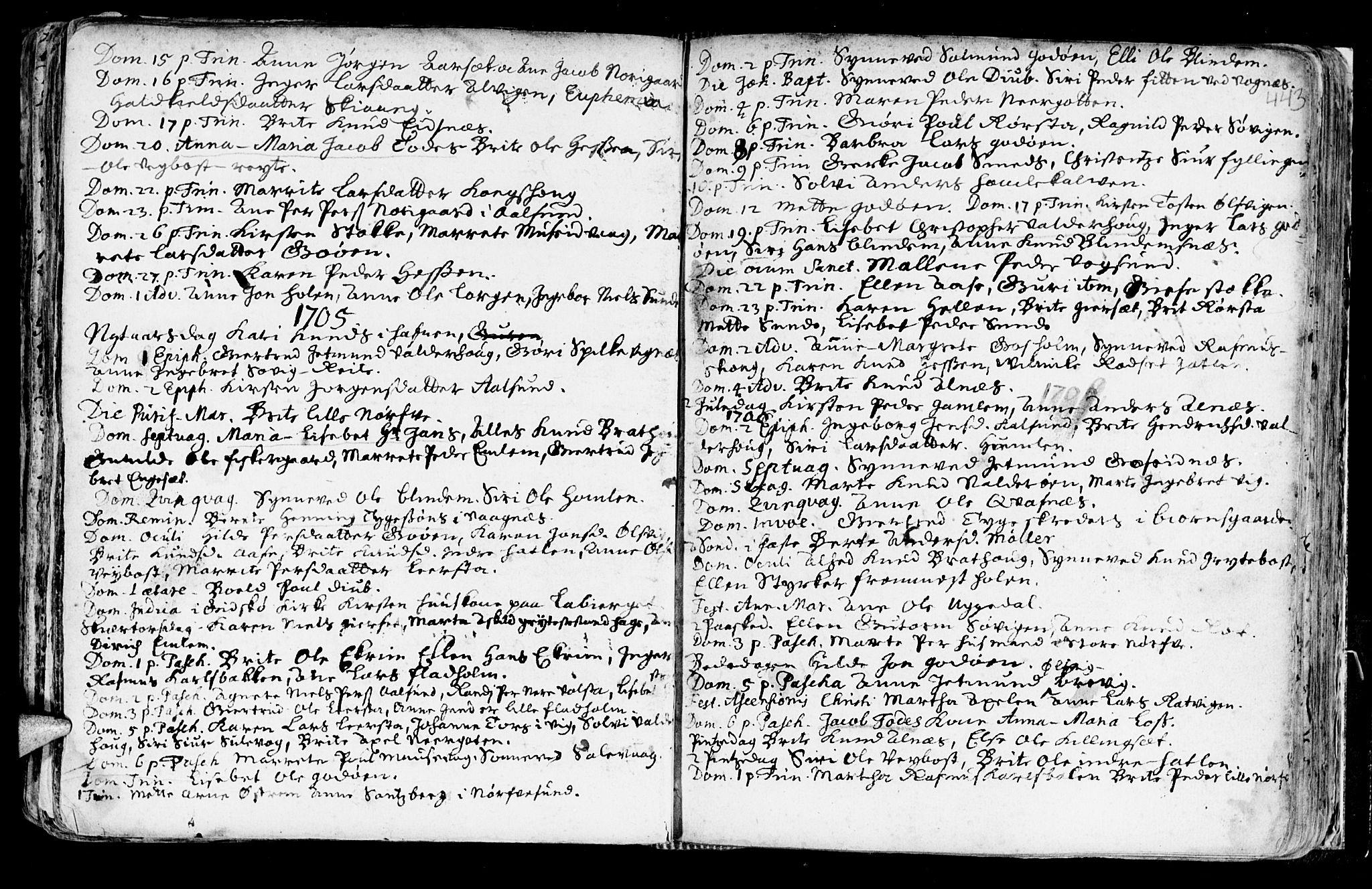 SAT, Ministerialprotokoller, klokkerbøker og fødselsregistre - Møre og Romsdal, 528/L0390: Ministerialbok nr. 528A01, 1698-1739, s. 442-443