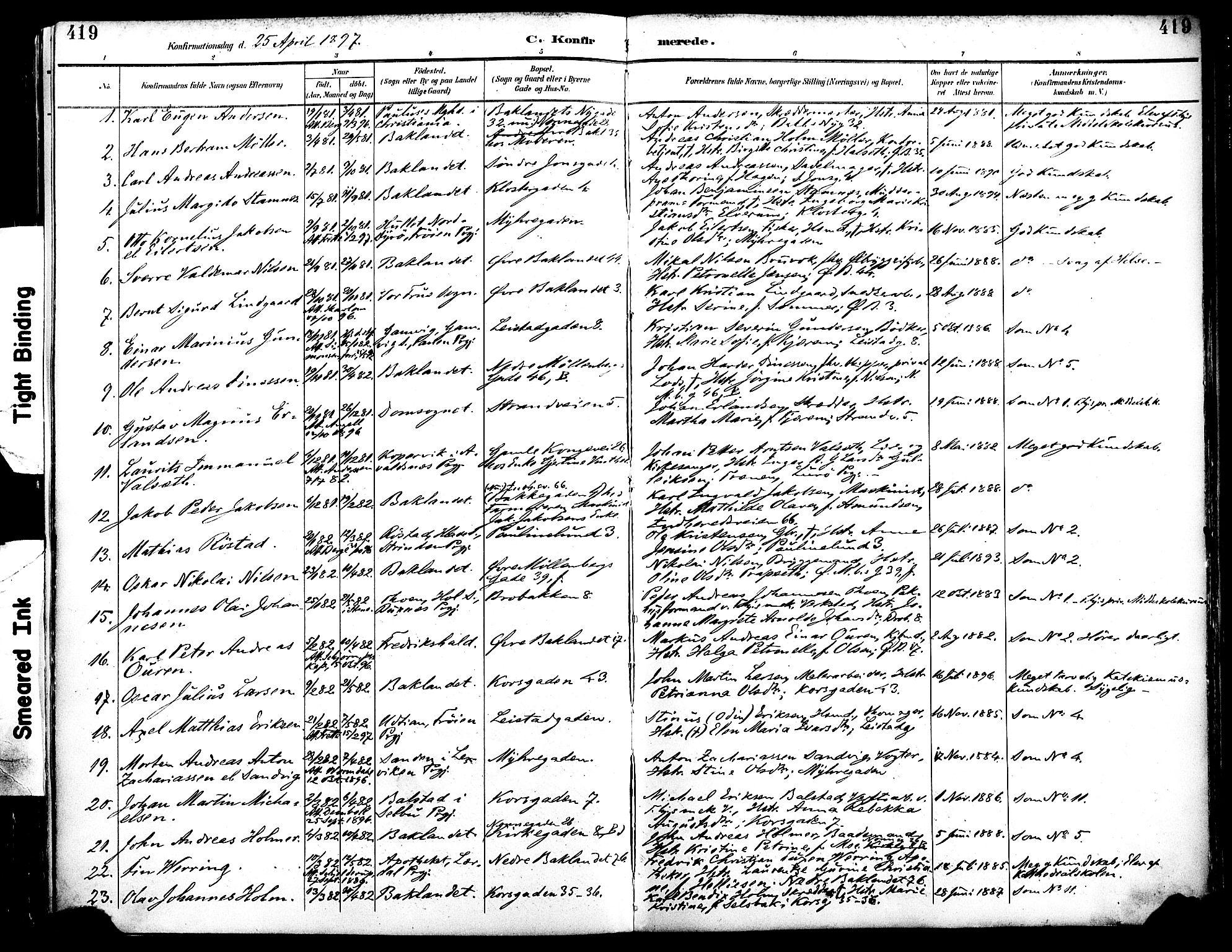 SAT, Ministerialprotokoller, klokkerbøker og fødselsregistre - Sør-Trøndelag, 604/L0197: Ministerialbok nr. 604A18, 1893-1900, s. 419