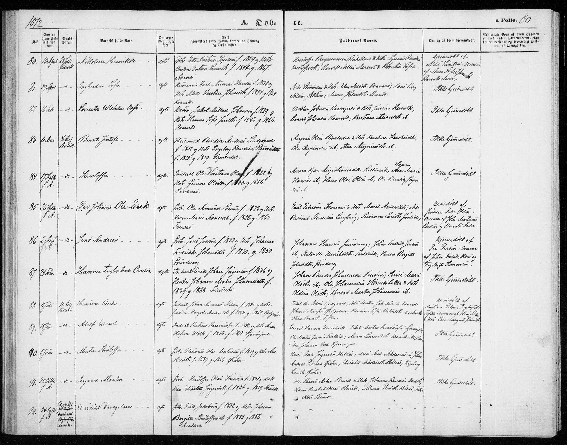 SATØ, Lenvik sokneprestembete, H/Ha/Haa/L0009kirke: Ministerialbok nr. 9, 1866-1873, s. 80