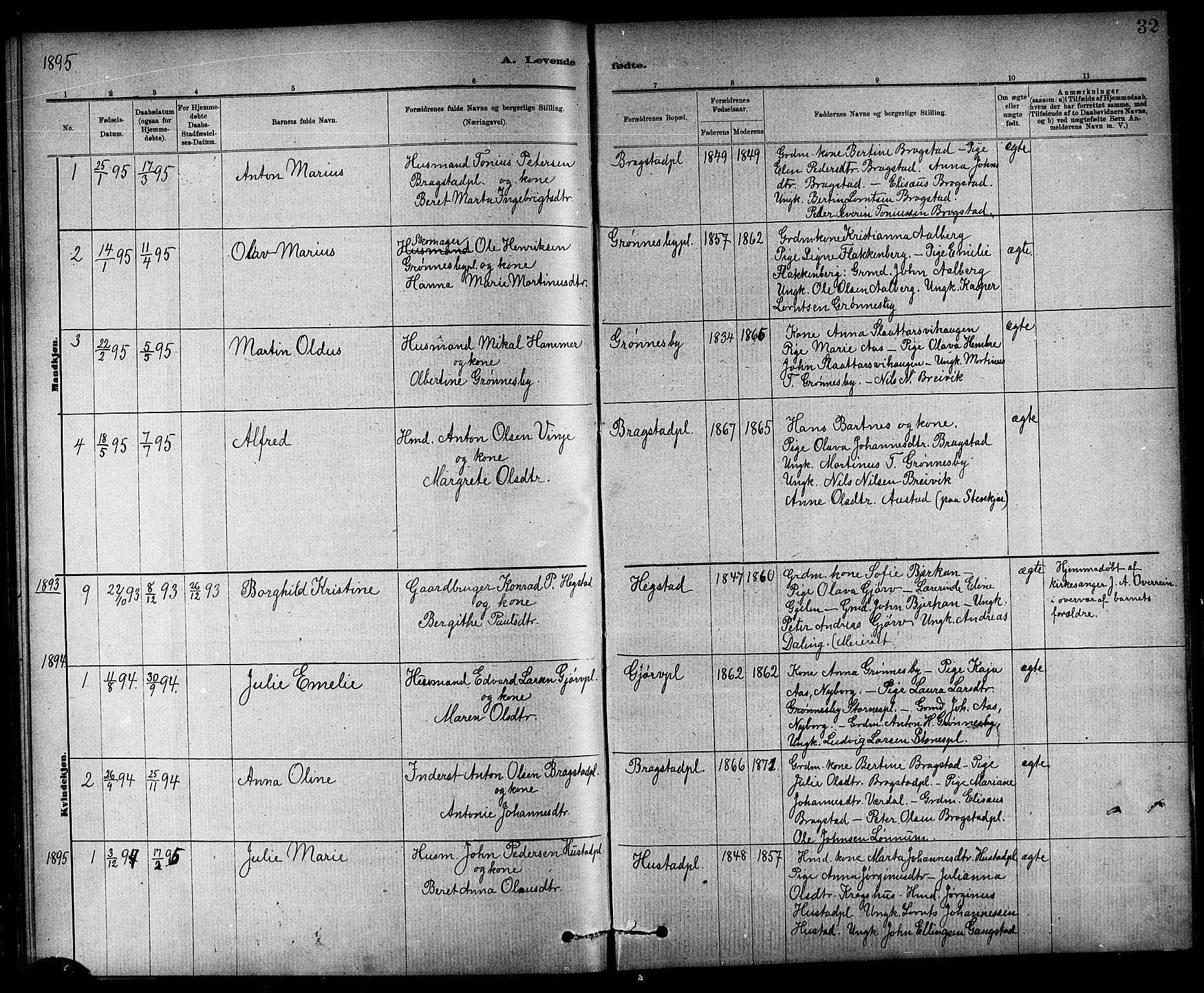 SAT, Ministerialprotokoller, klokkerbøker og fødselsregistre - Nord-Trøndelag, 732/L0318: Klokkerbok nr. 732C02, 1881-1911, s. 32