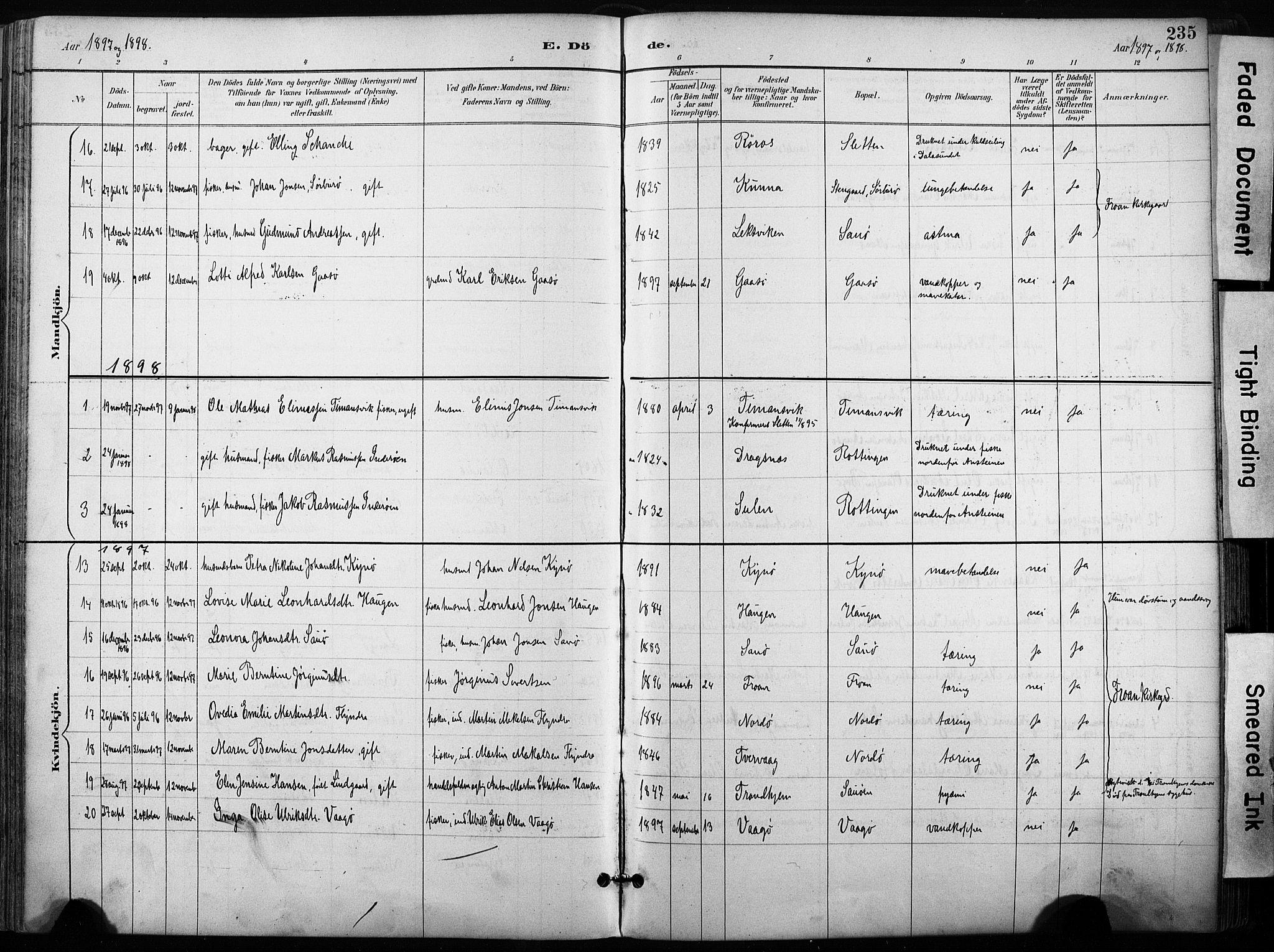 SAT, Ministerialprotokoller, klokkerbøker og fødselsregistre - Sør-Trøndelag, 640/L0579: Ministerialbok nr. 640A04, 1889-1902, s. 235