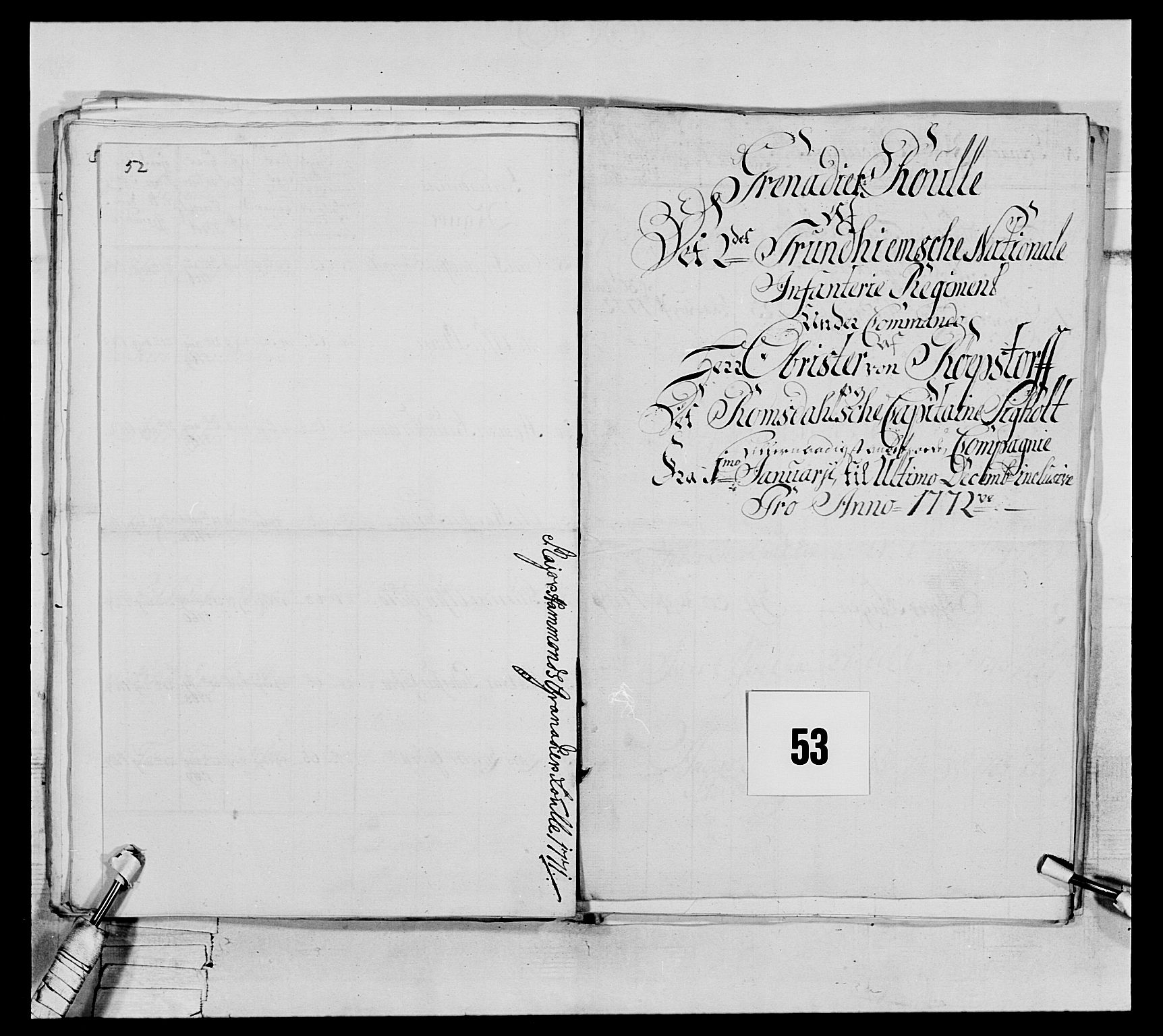 RA, Generalitets- og kommissariatskollegiet, Det kongelige norske kommissariatskollegium, E/Eh/L0076: 2. Trondheimske nasjonale infanteriregiment, 1766-1773, s. 178