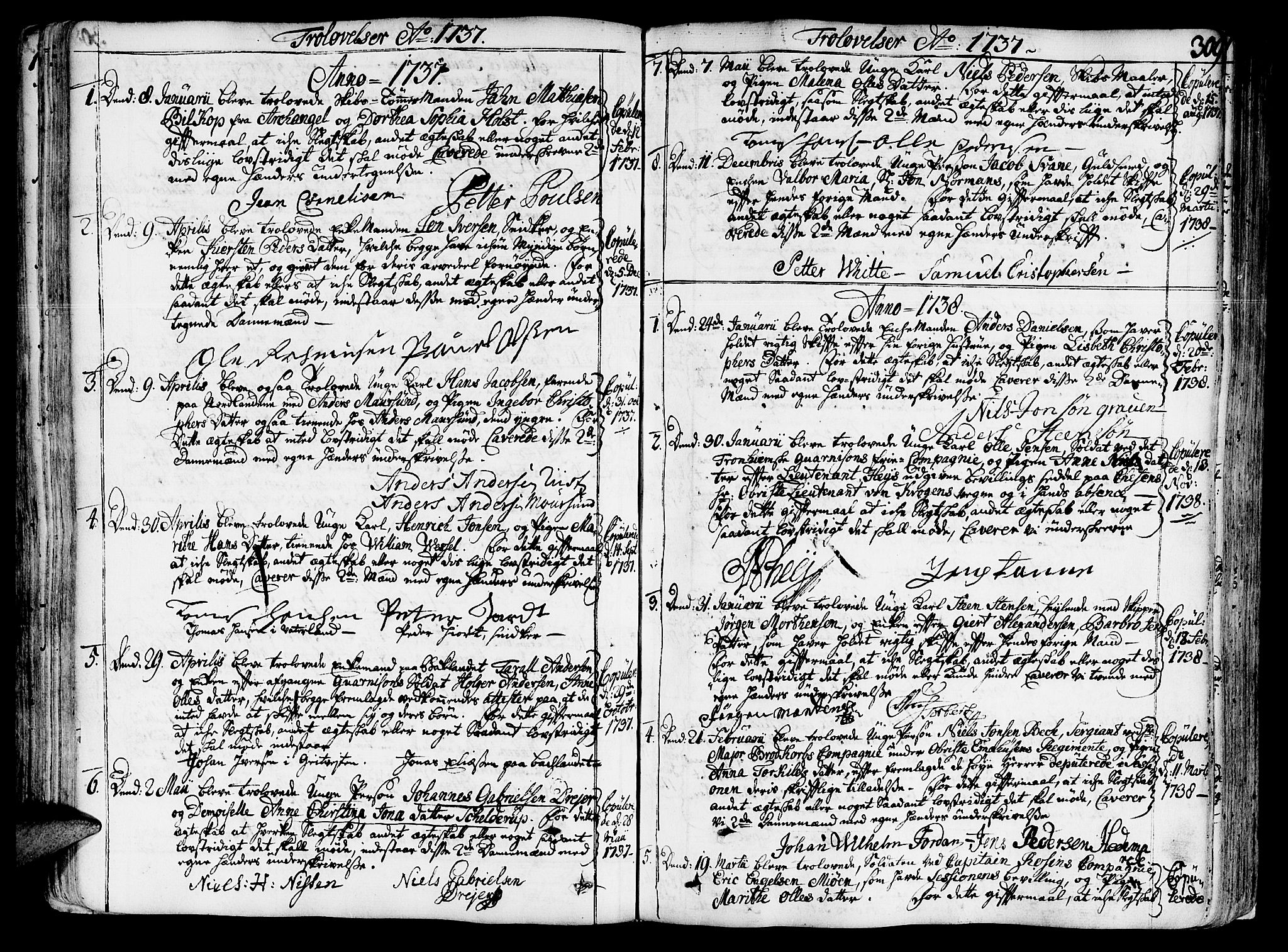SAT, Ministerialprotokoller, klokkerbøker og fødselsregistre - Sør-Trøndelag, 602/L0103: Ministerialbok nr. 602A01, 1732-1774, s. 309