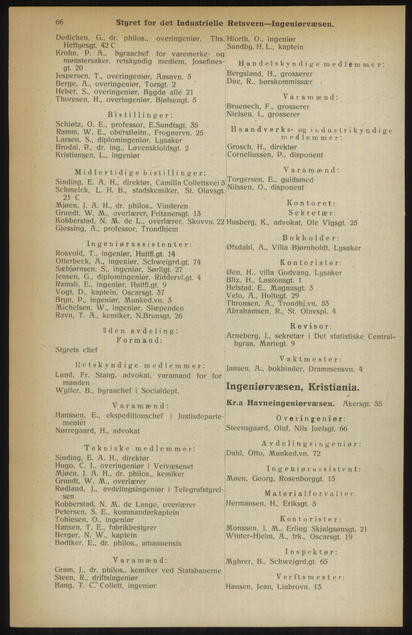 RA, Kristiania adressebok (publikasjon)*, 1914, s. 66