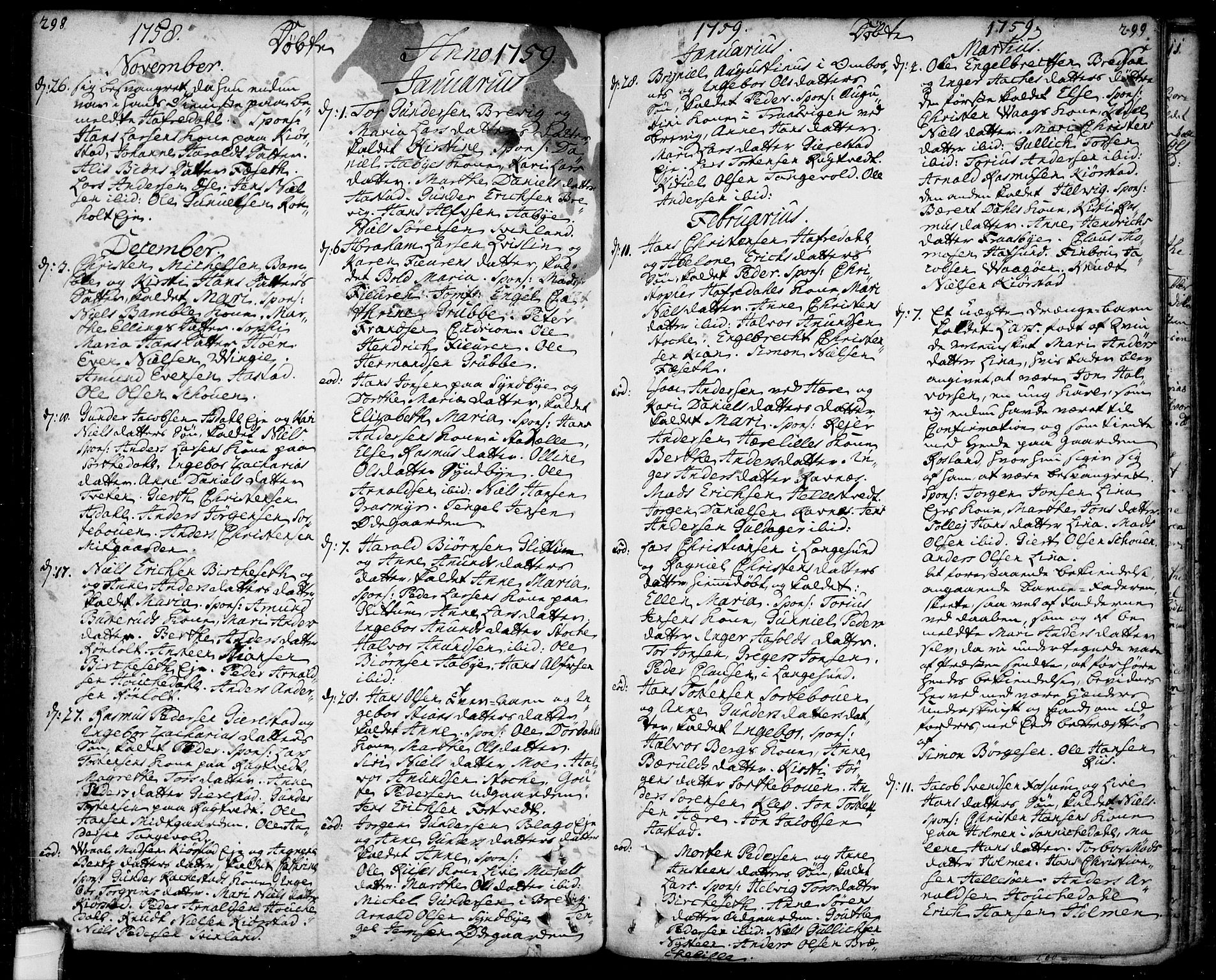 SAKO, Bamble kirkebøker, F/Fa/L0001: Ministerialbok nr. I 1, 1702-1774, s. 298-299