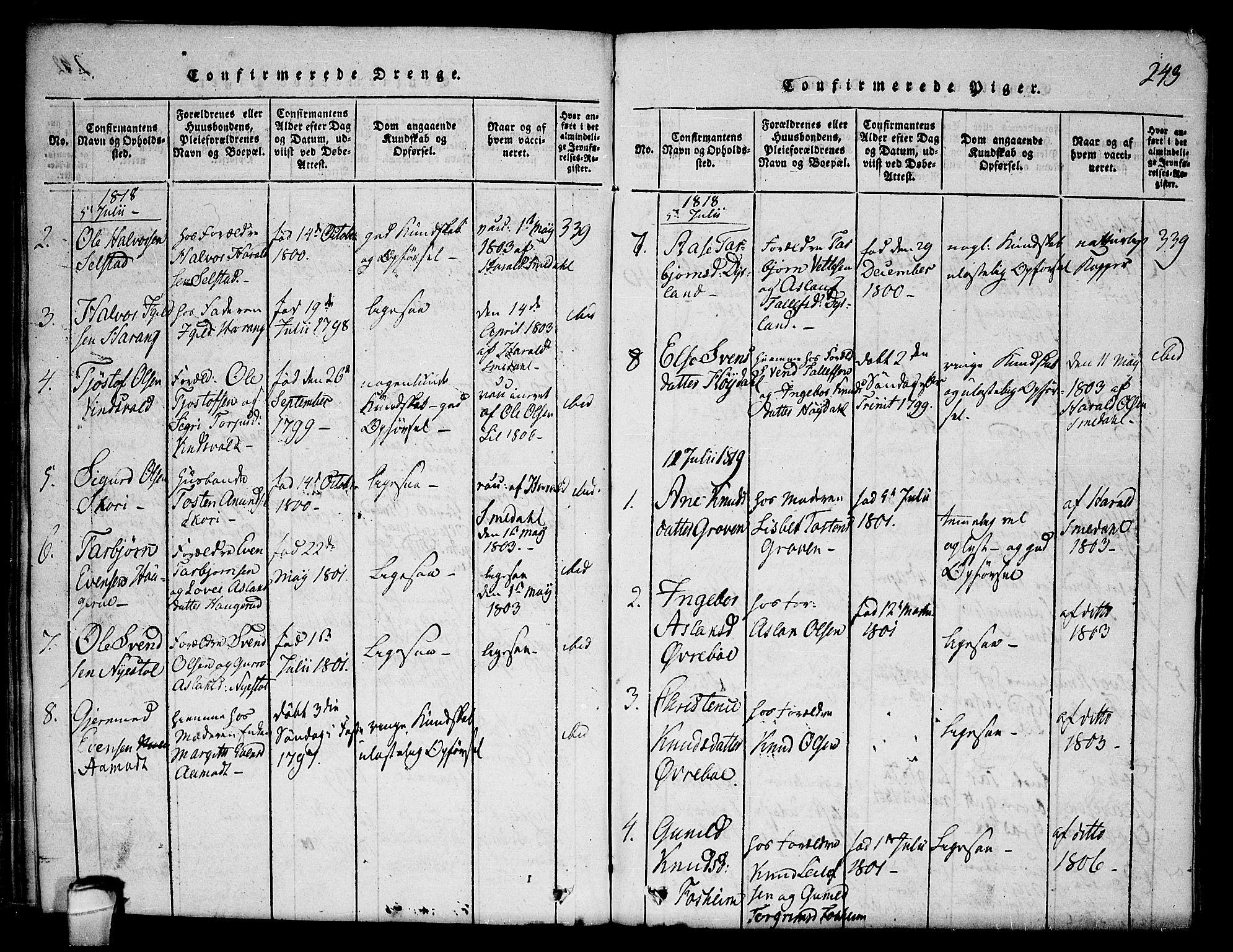 SAKO, Seljord kirkebøker, F/Fc/L0001: Ministerialbok nr. III 1, 1815-1831, s. 243