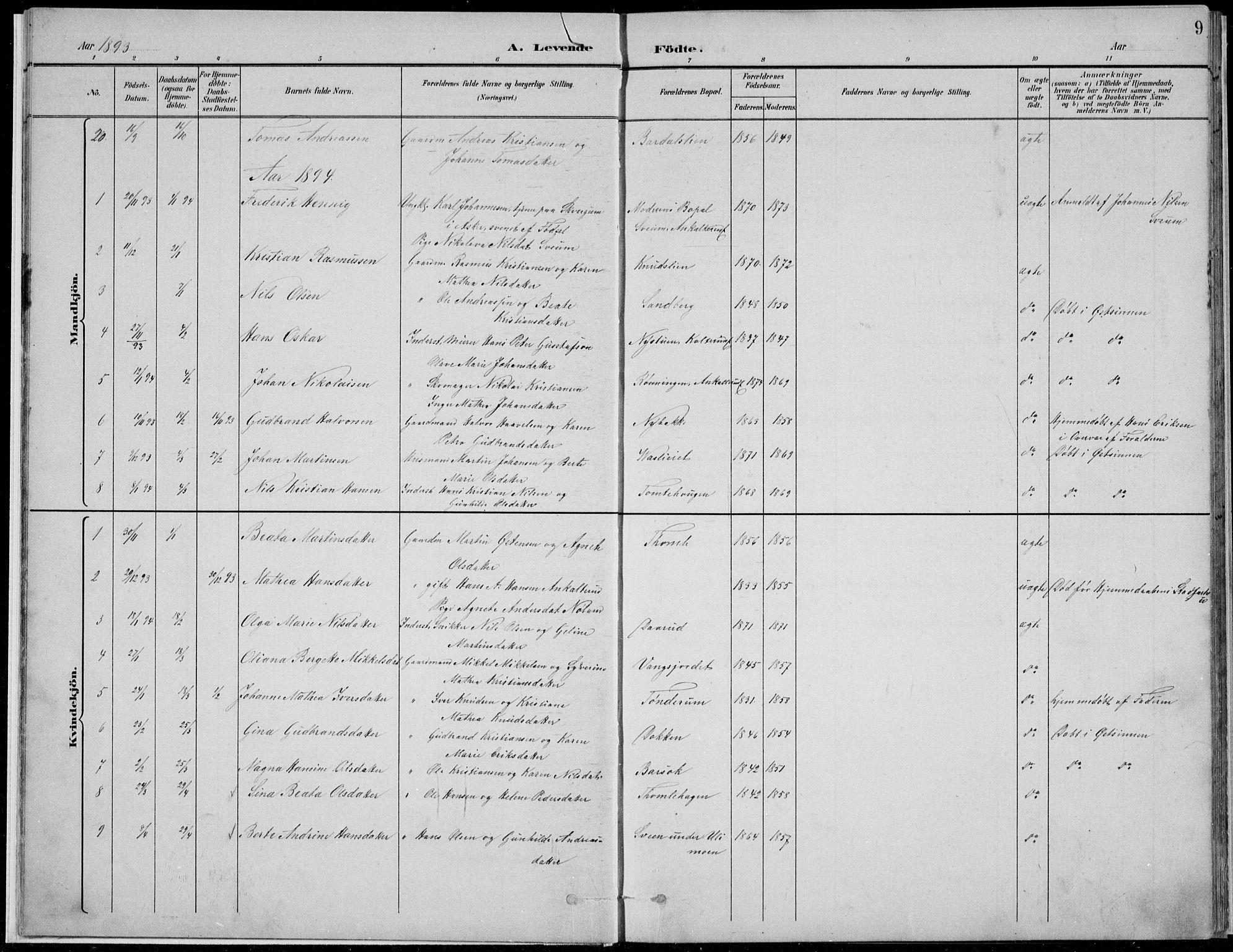 SAH, Nordre Land prestekontor, Klokkerbok nr. 13, 1891-1904, s. 9