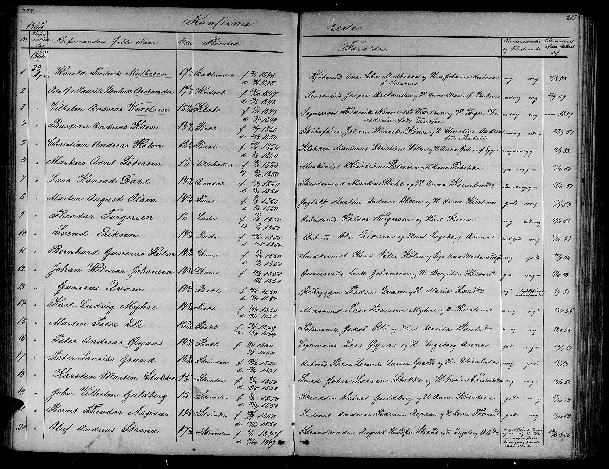 SAT, Ministerialprotokoller, klokkerbøker og fødselsregistre - Sør-Trøndelag, 604/L0219: Klokkerbok nr. 604C02, 1851-1869, s. 222-223
