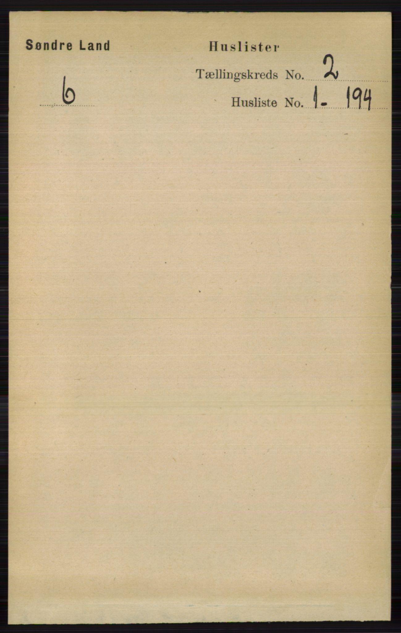 RA, Folketelling 1891 for 0536 Søndre Land herred, 1891, s. 832